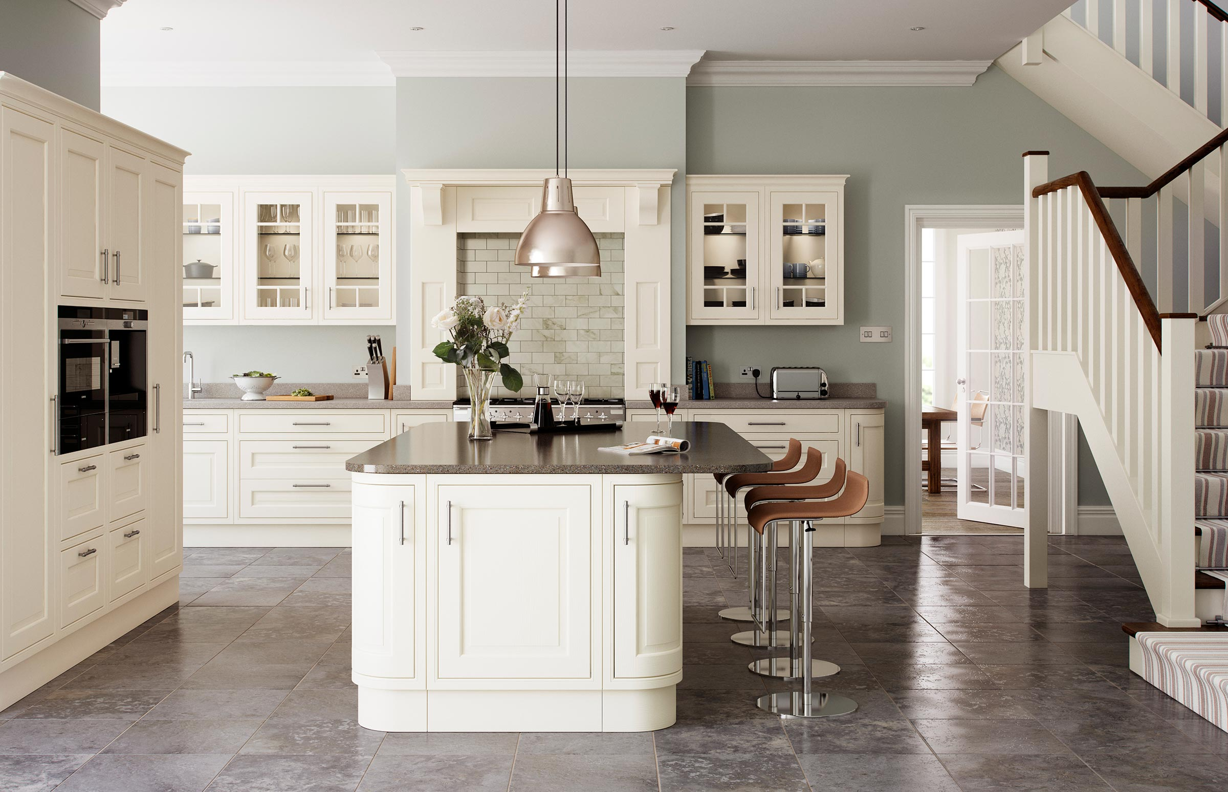 Traditional in-frame cream painted ash door kitchen marble worktops