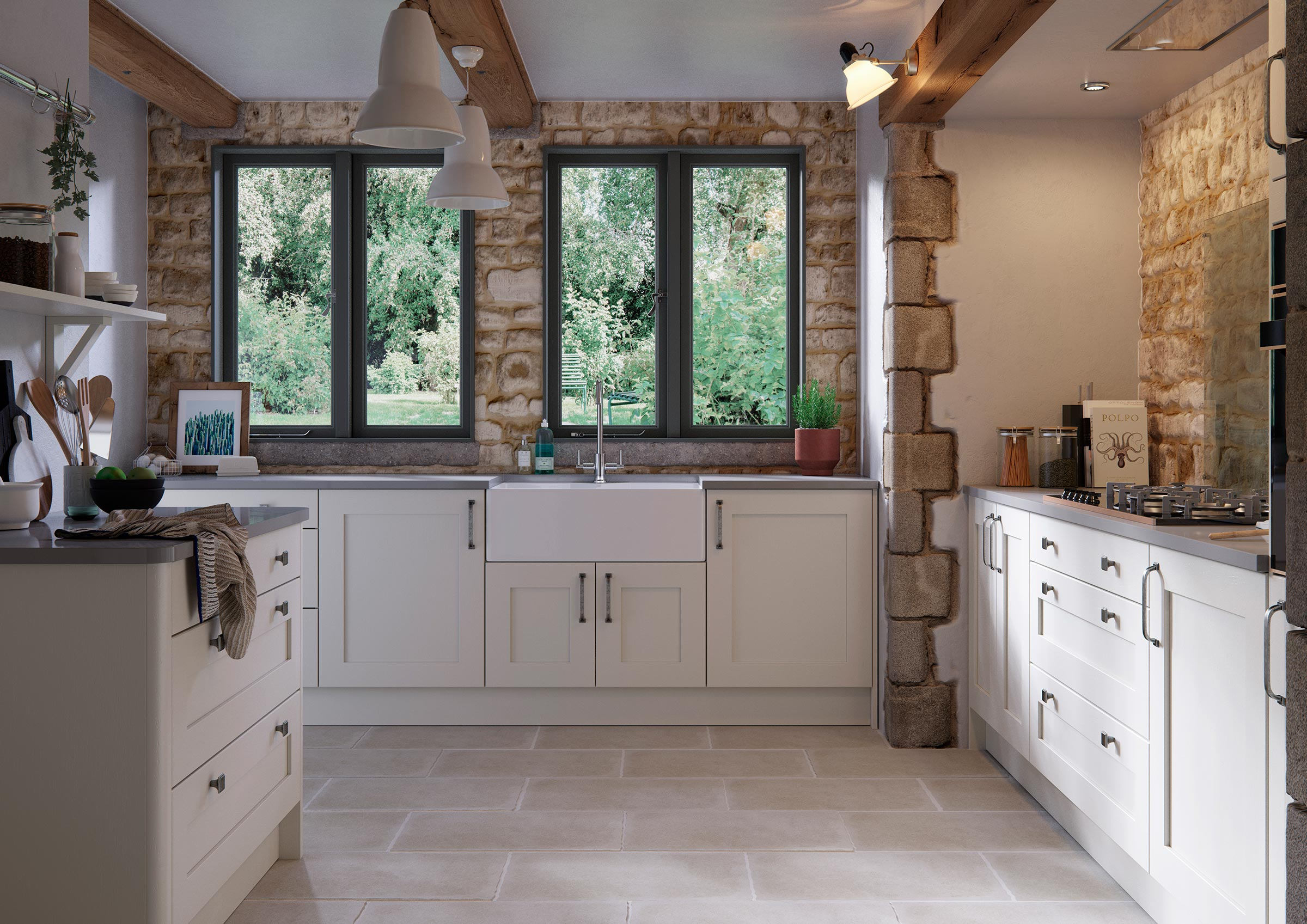 Contemporary country style shaker kitchen cream with grey quartz worktops