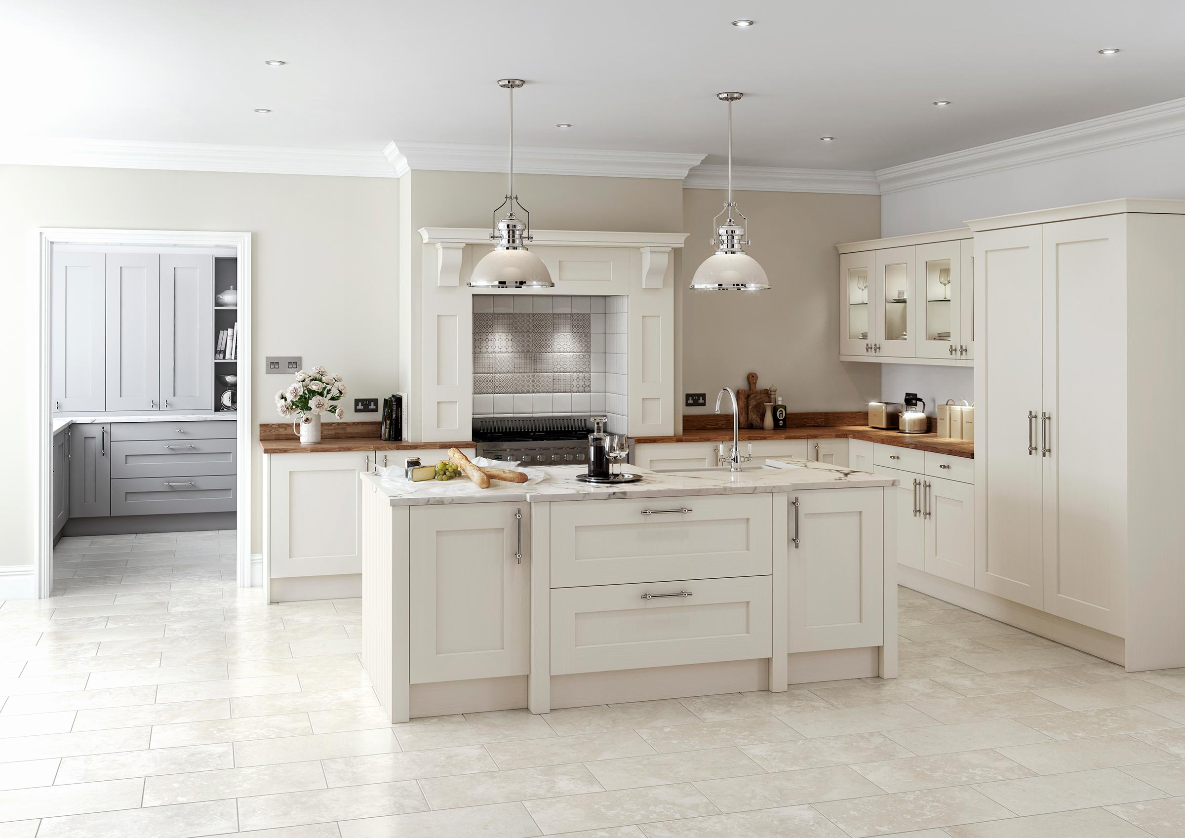 Traditional solid oak shaker kitchen painted cream with light marble and laquered wood worktops