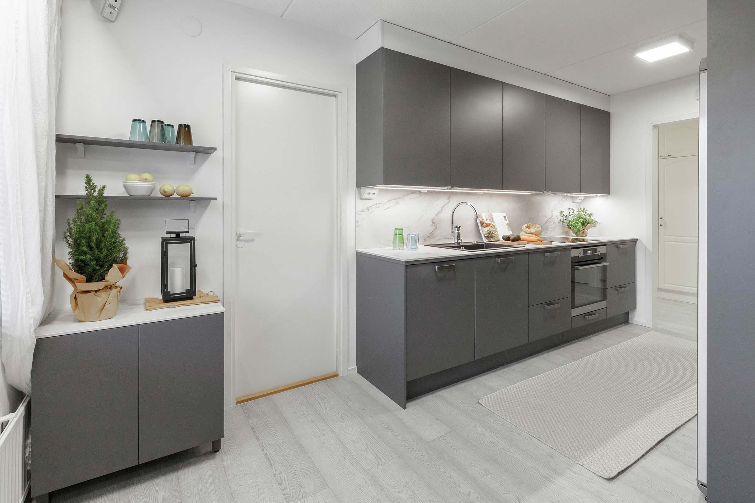 Miinus eco friendly matt grey modern galley kitchen