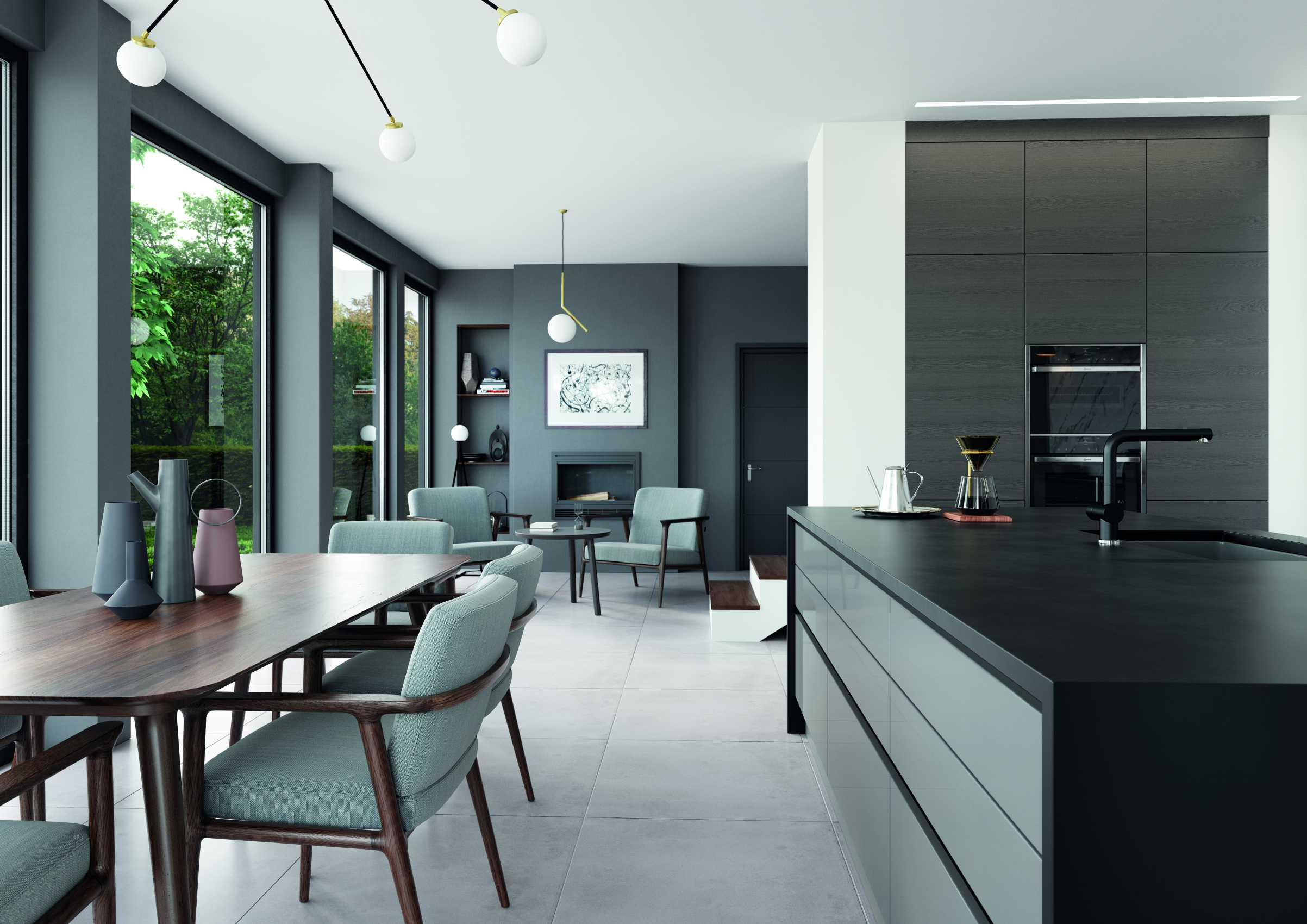 gloss dust grey and cashmere handleless modern kitchen room finish