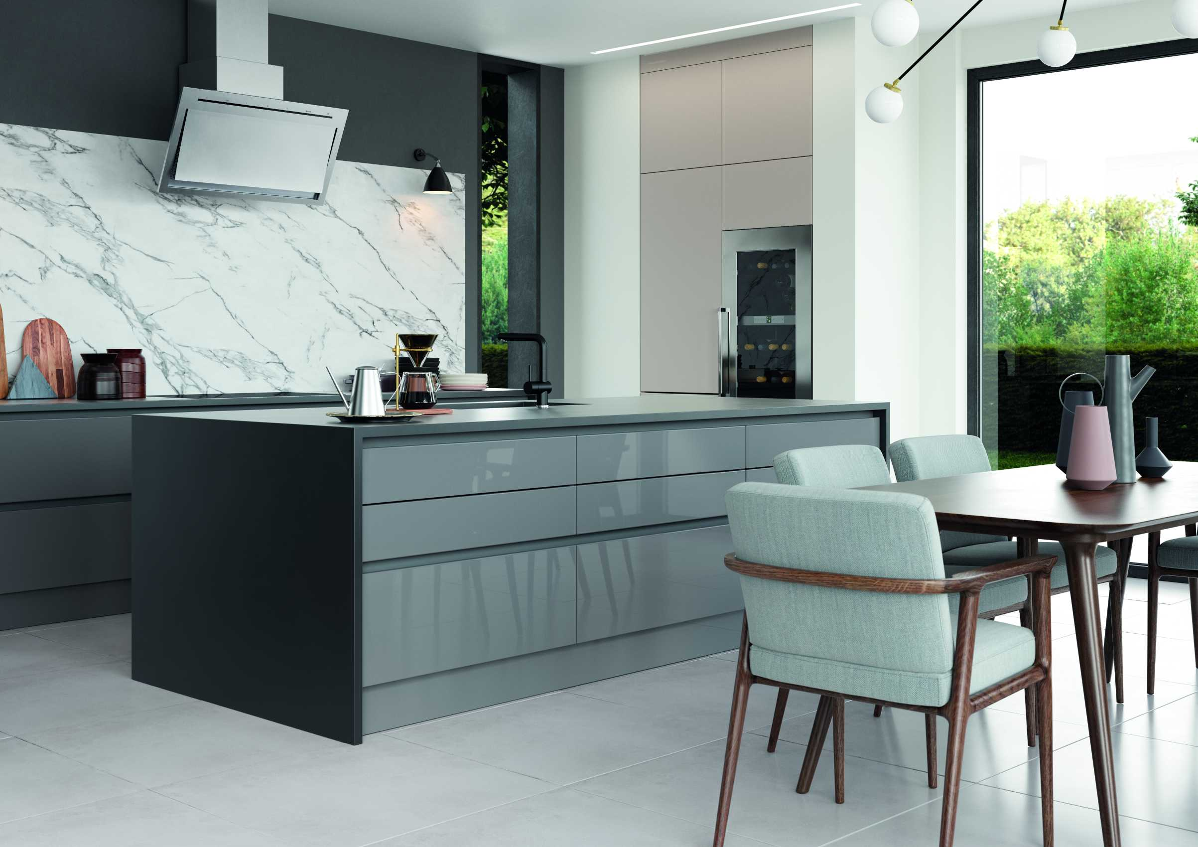 gloss dust grey and cashmere handleless modern kitchen island storage and worktop