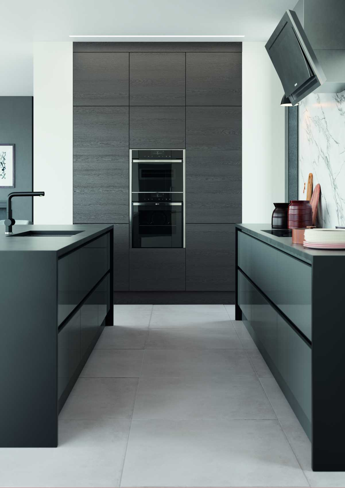 gloss dust grey and cashmere handleless modern kitchen cooking space