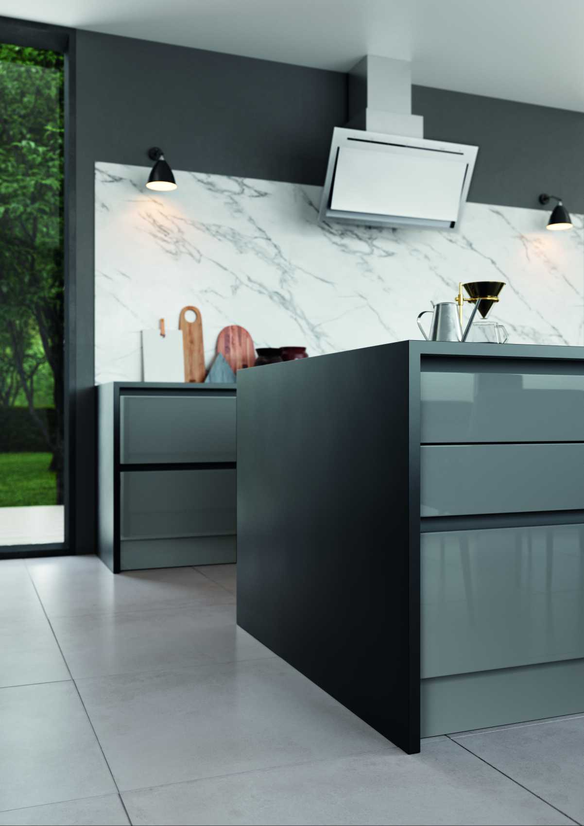 gloss dust grey and cashmere handleless modern kitchen corner detail and marble back splash