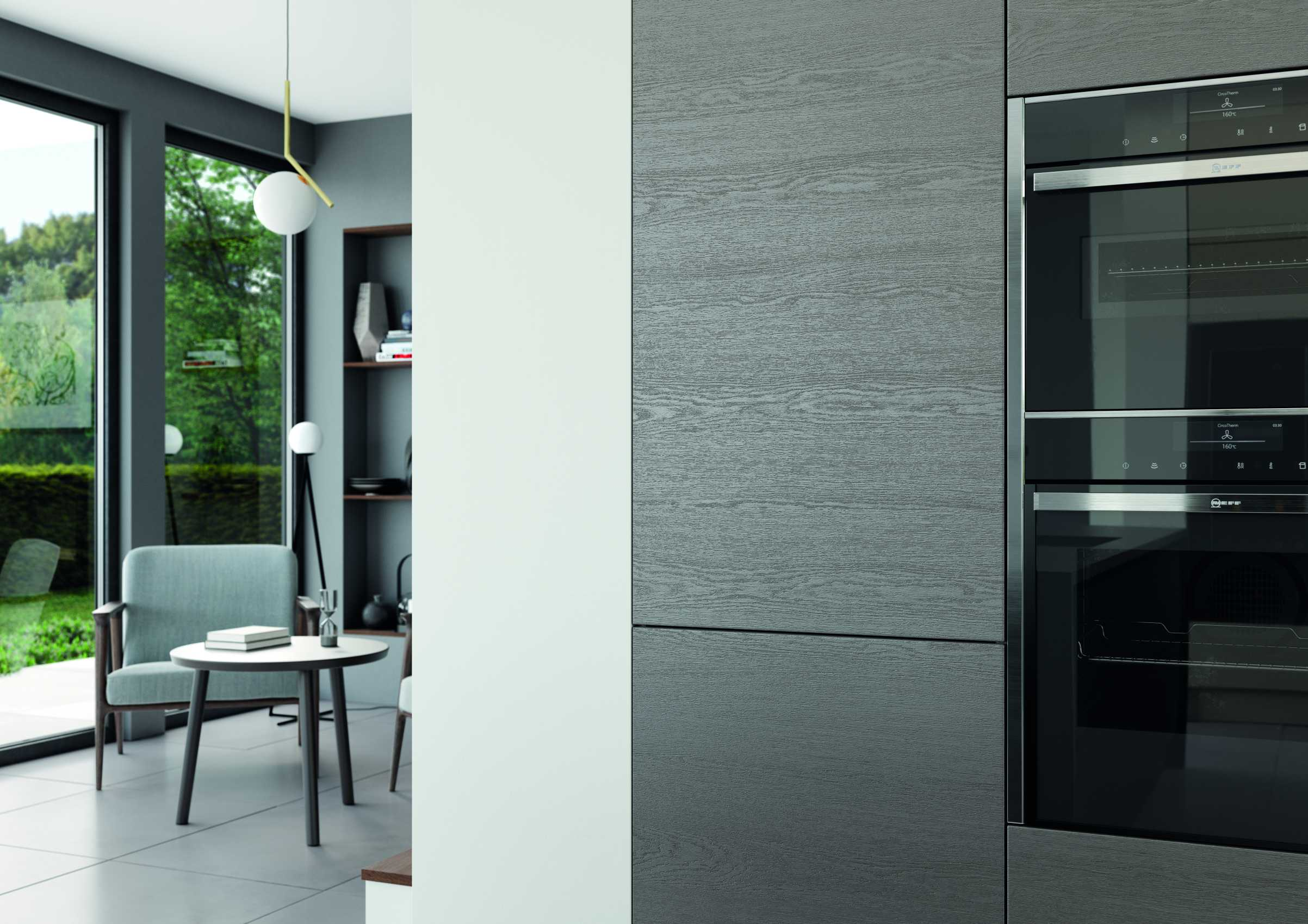 gloss dust grey and cashmere handleless modern kitchen oven and cupboard door