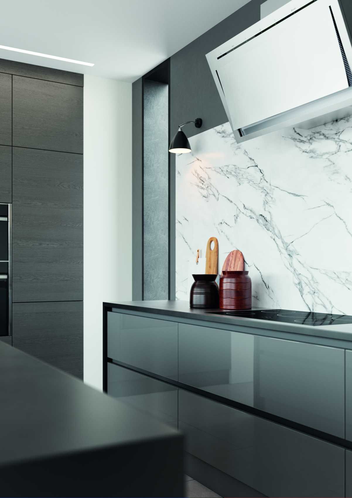 gloss dust grey and cashmere handleless modern kitchen hob and worktop view