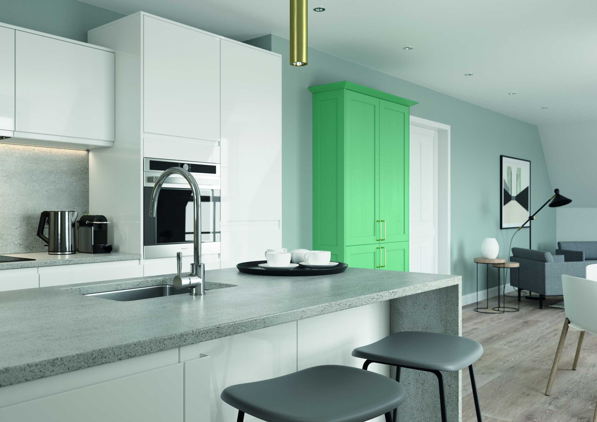 gloss white and green handleless kitchen fridge and oven