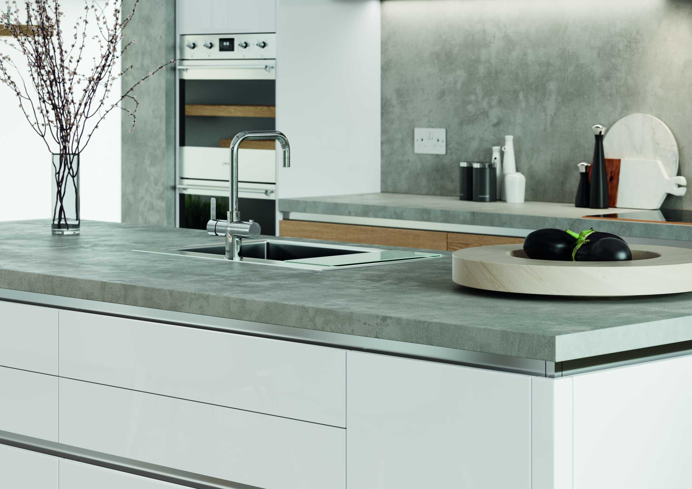 gloss white and parched oak modern kitchen worktop sink