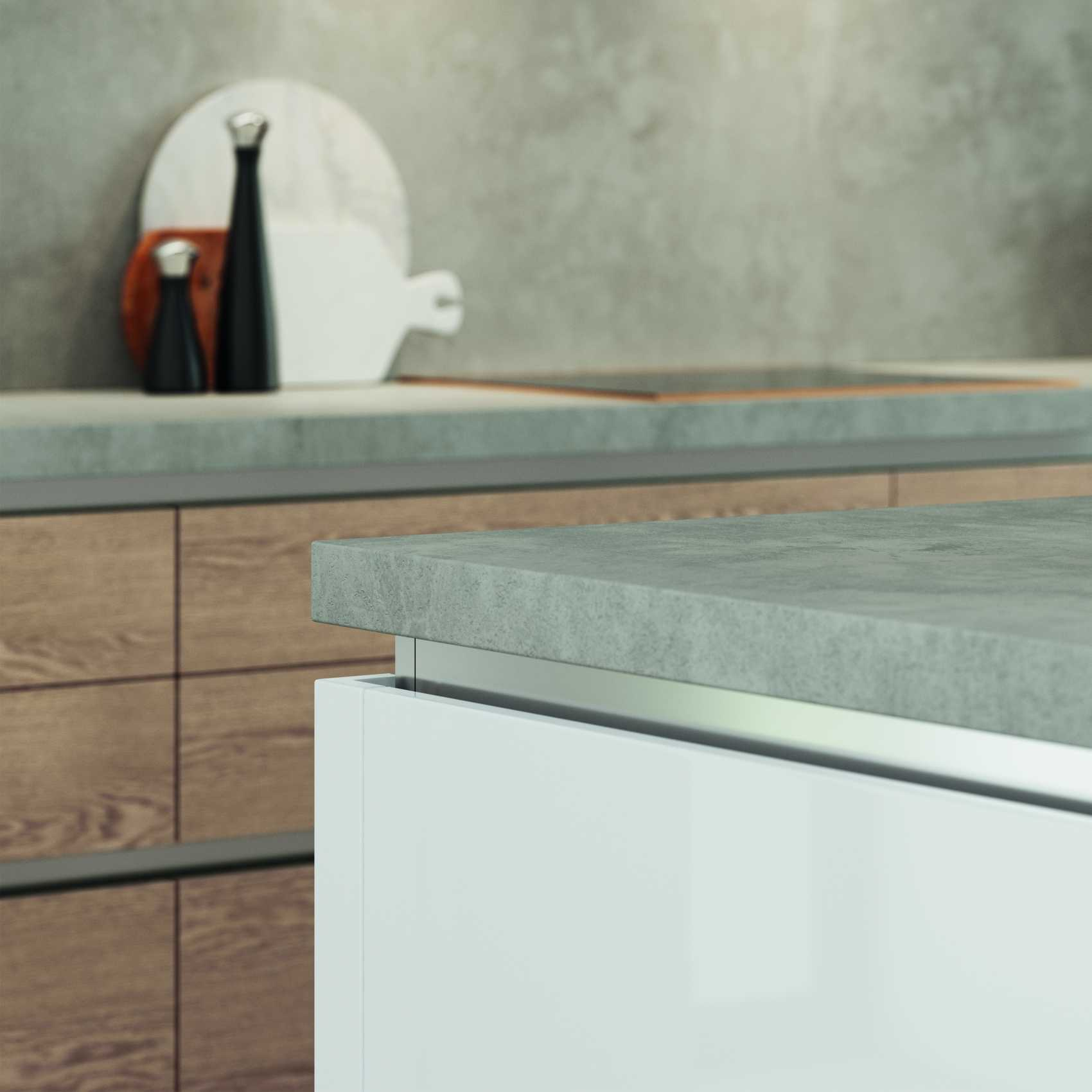 gloss white and parched oak modern kitchen worktop corner detail