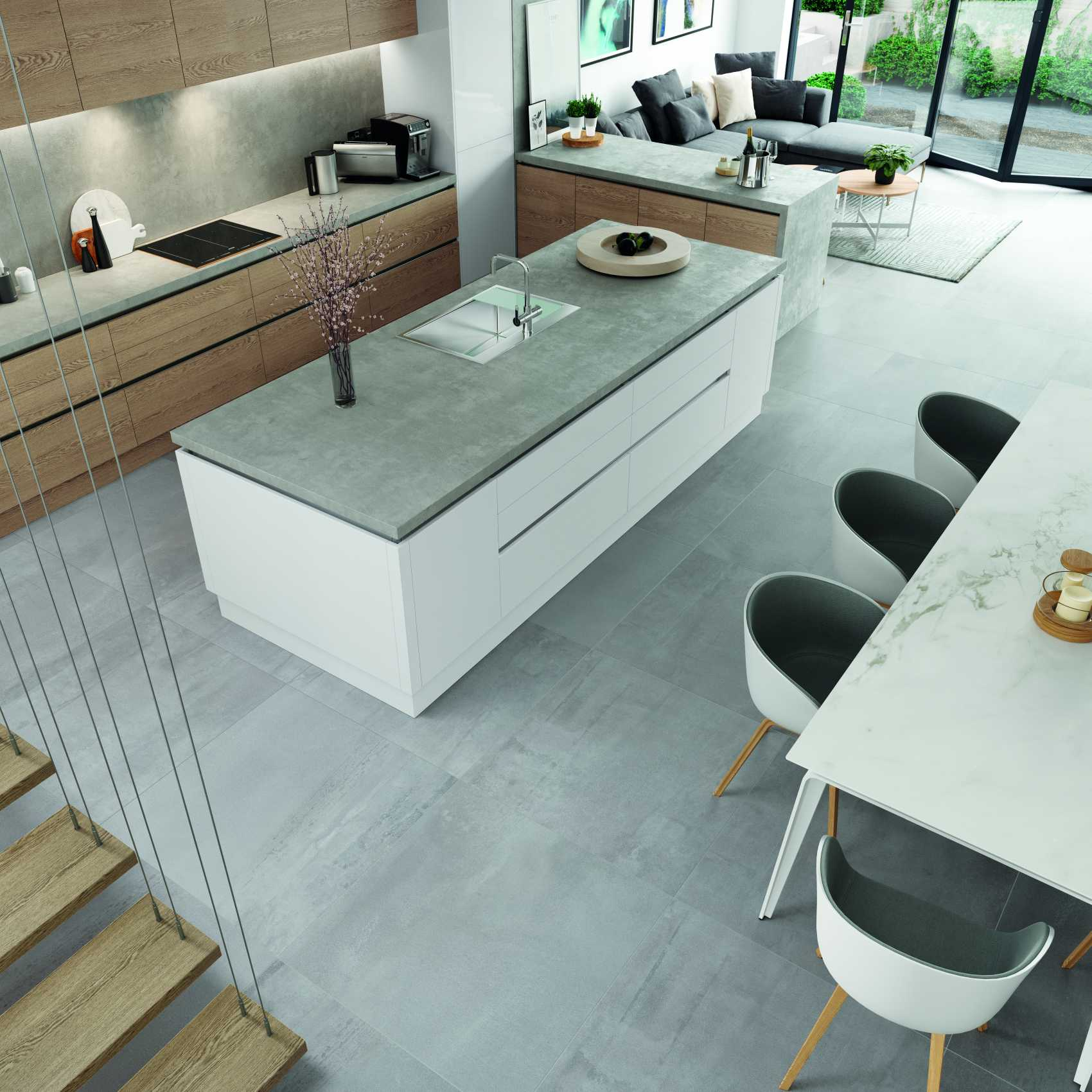 gloss white and parched oak modern kitchen whole space