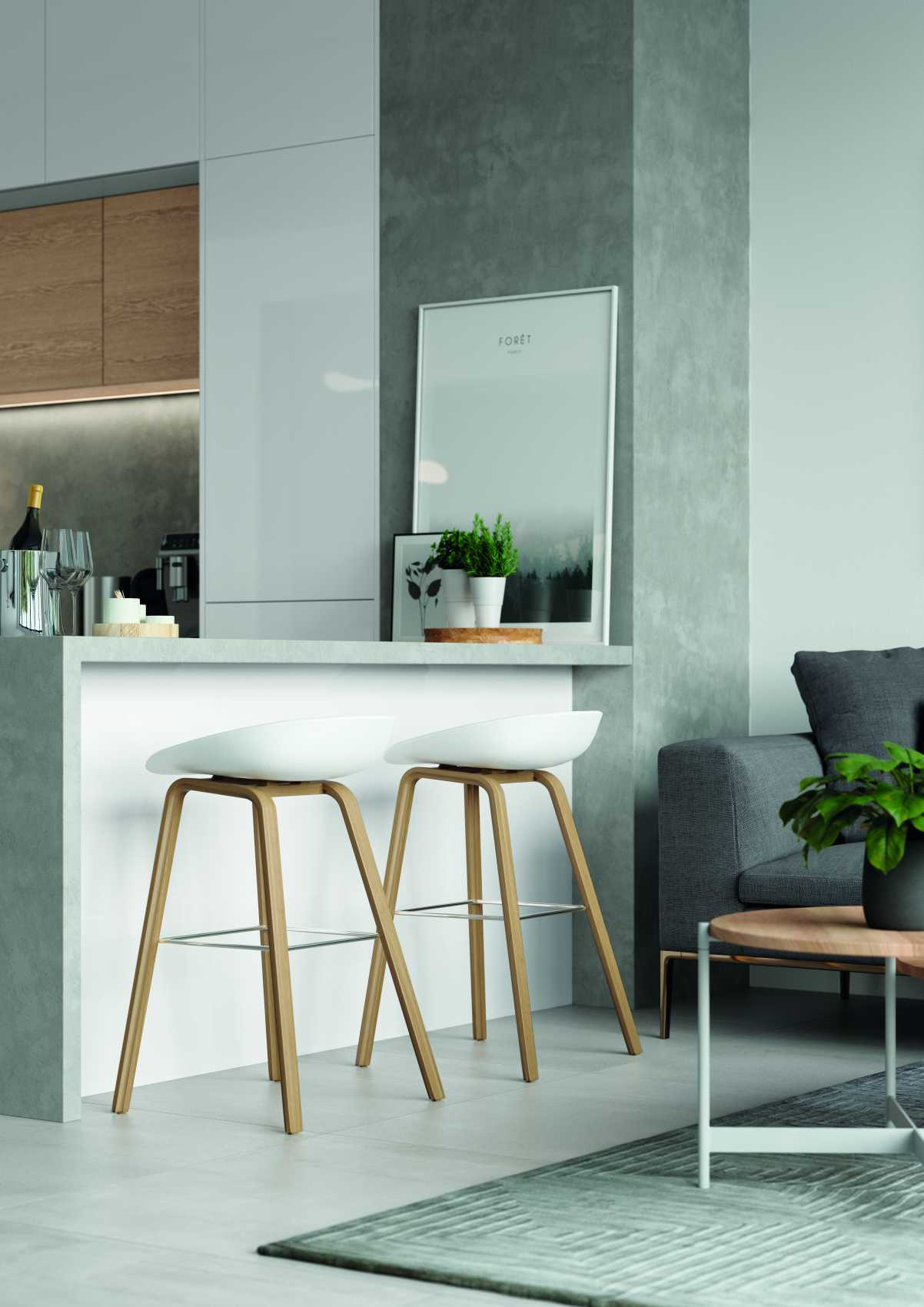 gloss white and parched oak modern kitchen breakfast bar space