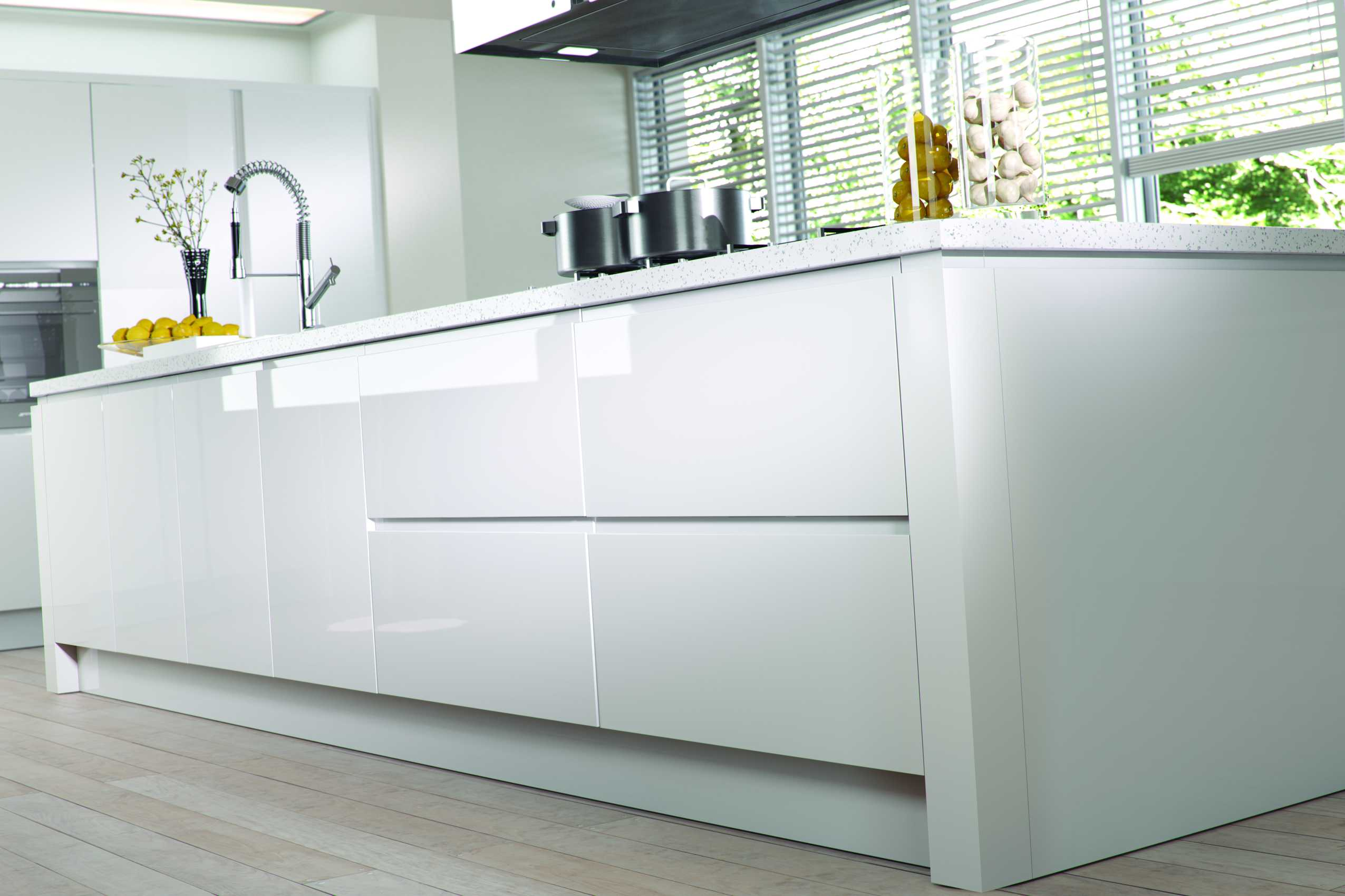 Gloss White J Profile Handleless Kitchen Og Kitchens