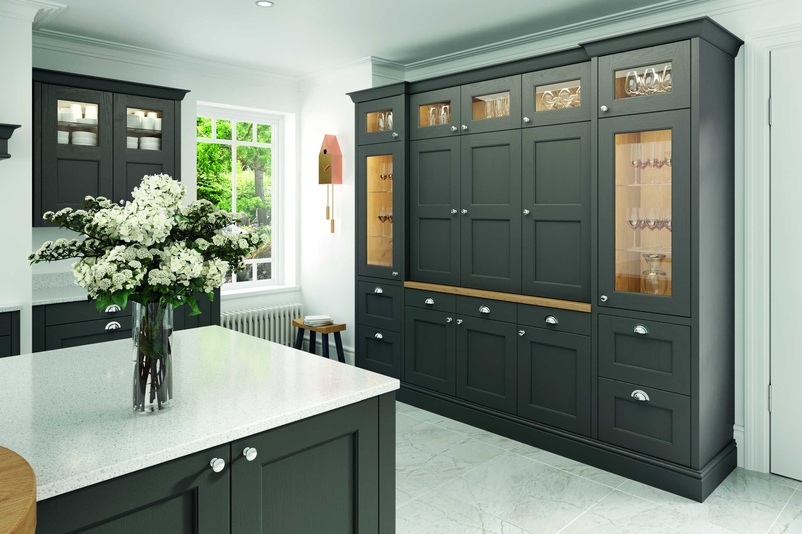 lava grey painted contemporary shaker kitchen storage units