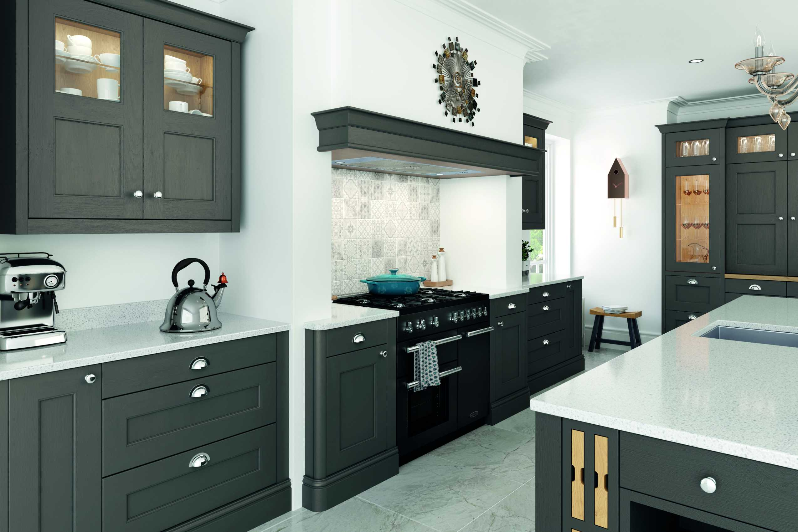 lava grey painted contemporary shaker kitchen cooking area