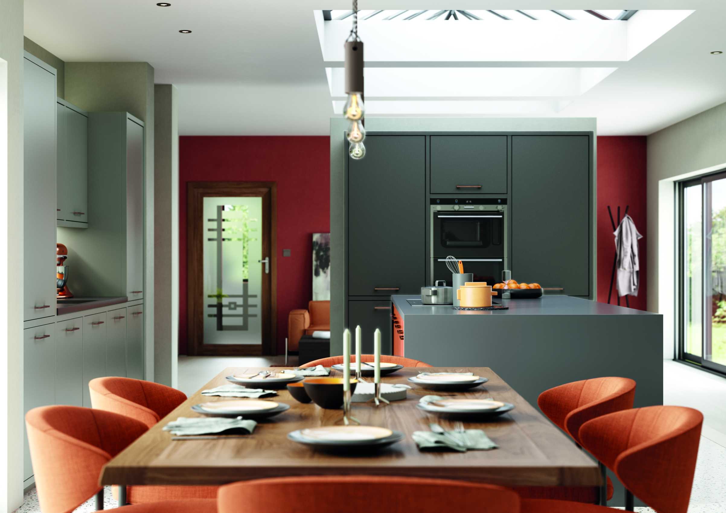 matte orange and graphite modern kitchen cameo