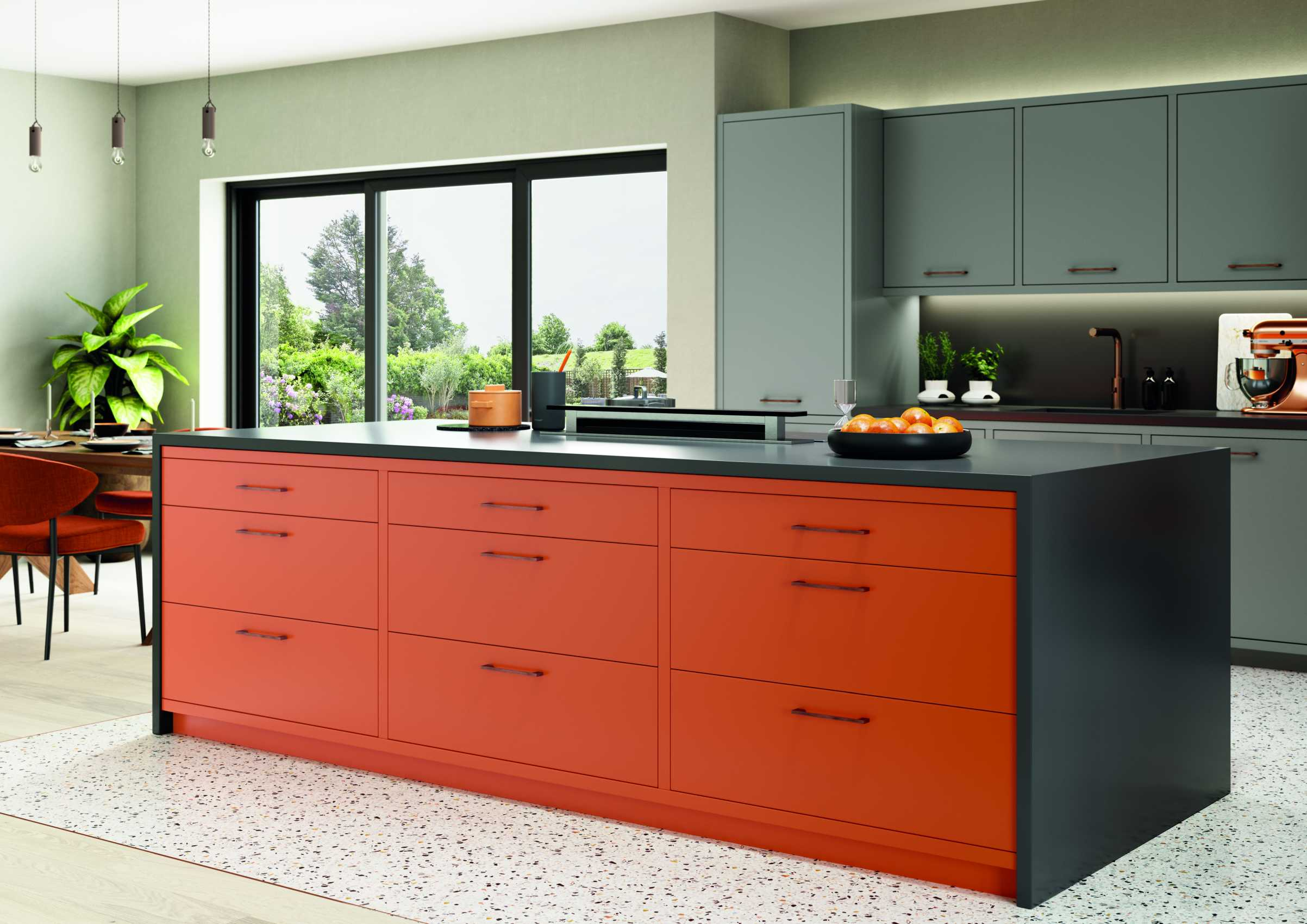 matte orange and graphite modern kitchen orange island doors