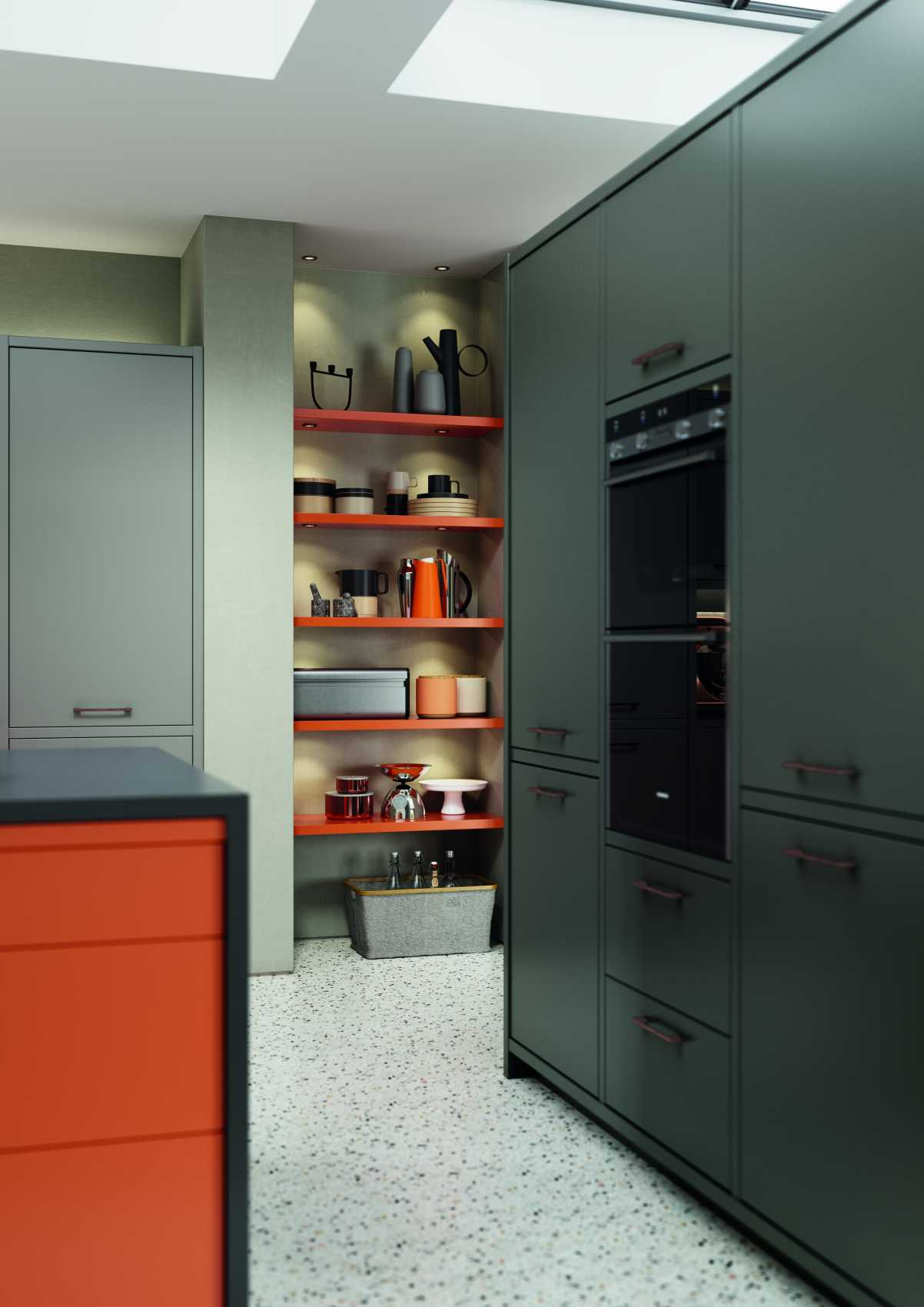 matte orange and graphite modern kitchen doors and shelving
