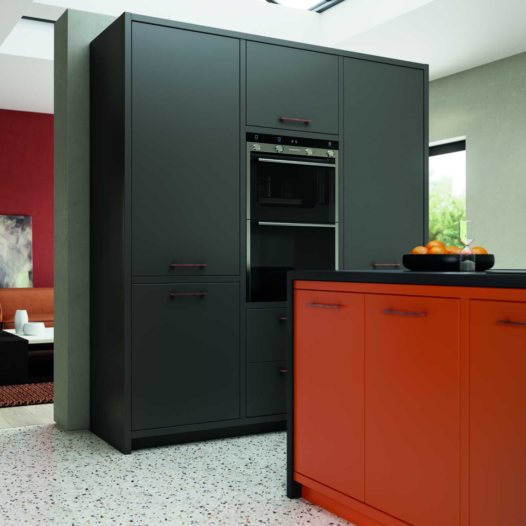 matte orange and graphite modern kitchen graphite doors