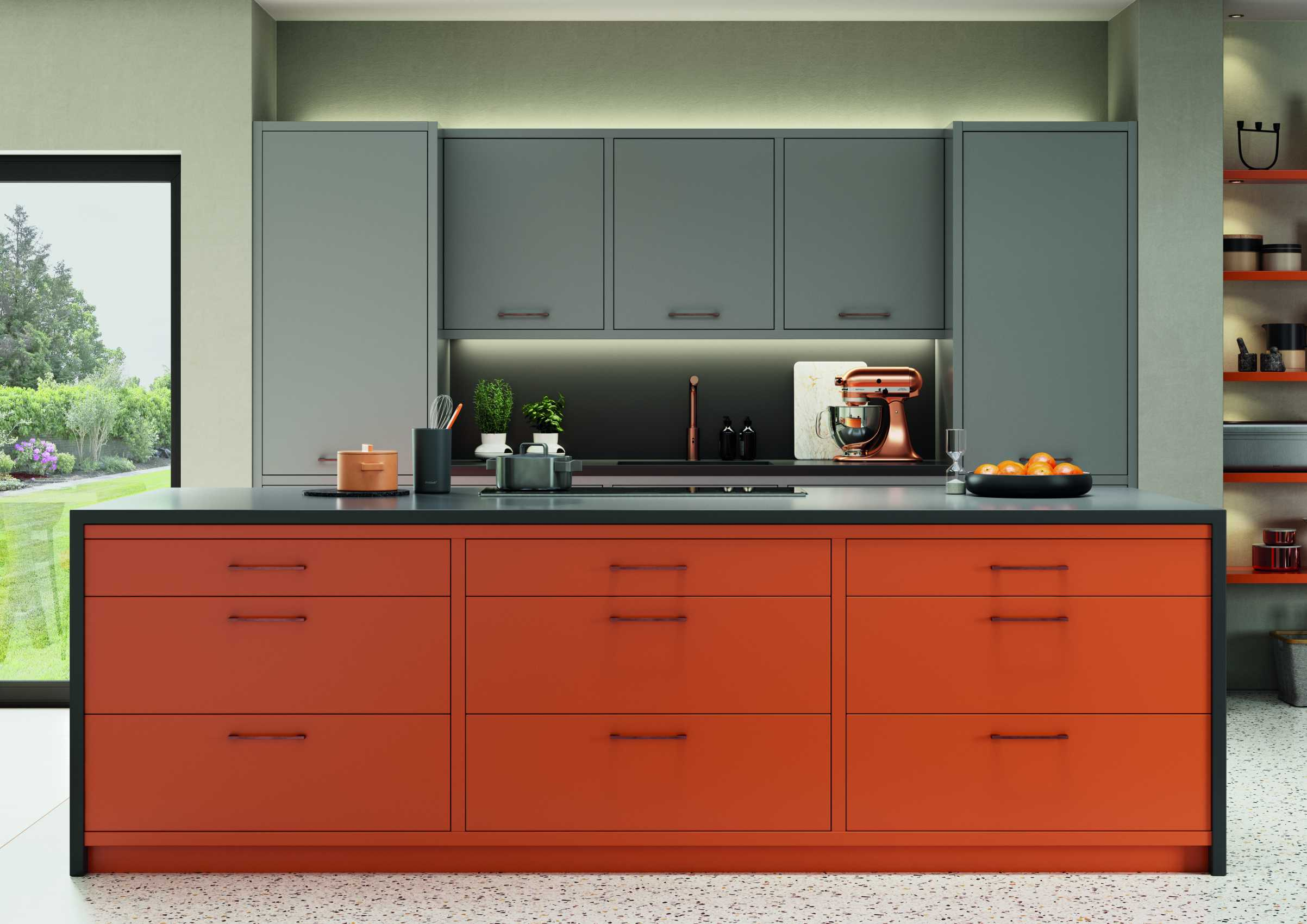 matte orange and graphite modern kitchen island front view