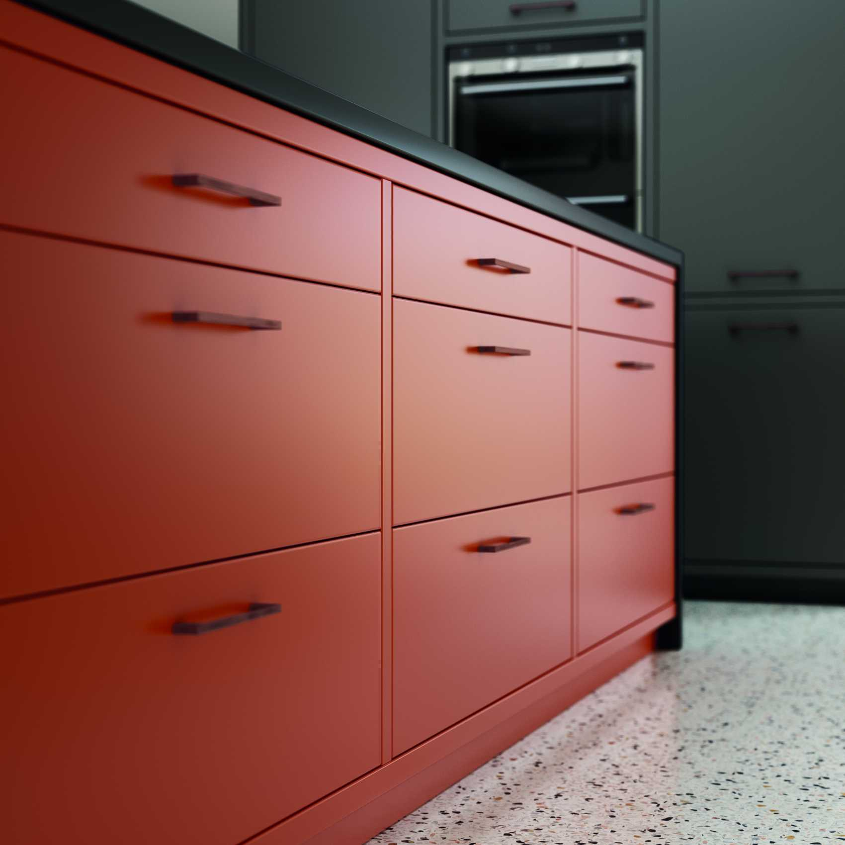 matte orange and graphite modern kitchen orange doors detail