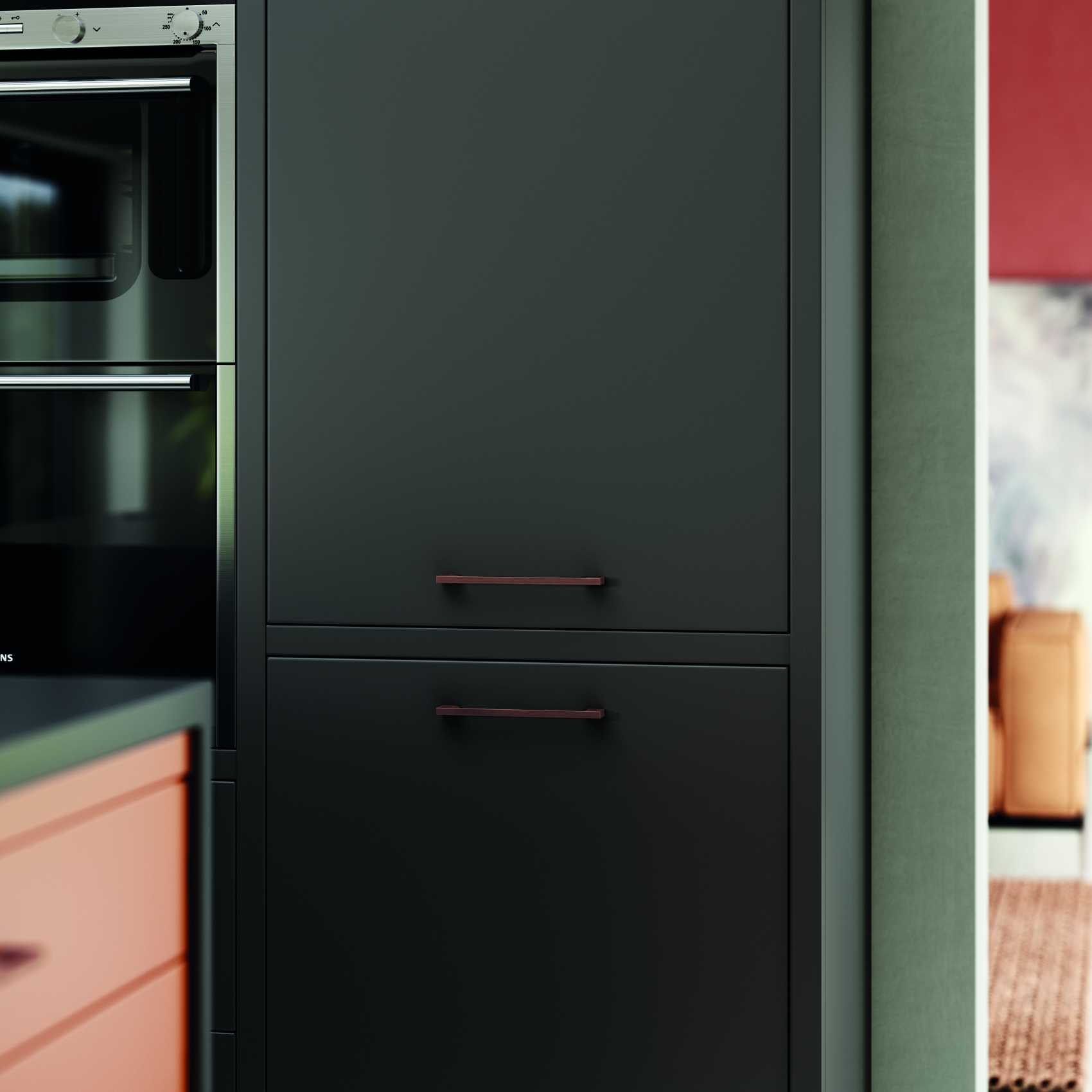 matte orange and graphite modern kitchen fridge graphite doors