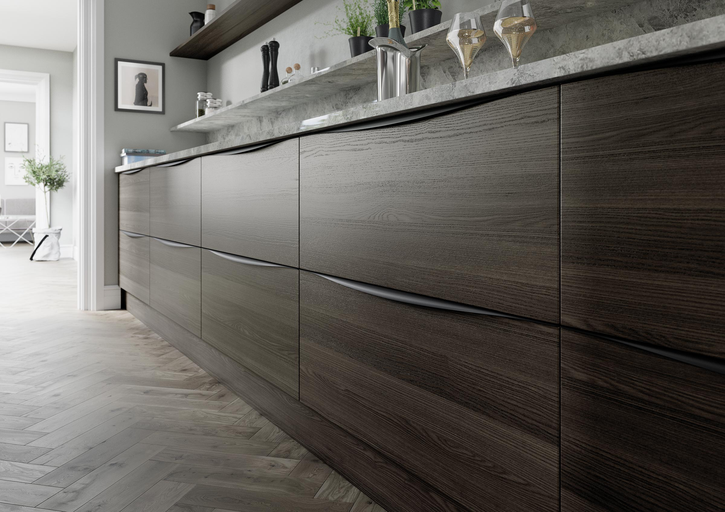 Detailed view of modern carbon stain kitchen base units