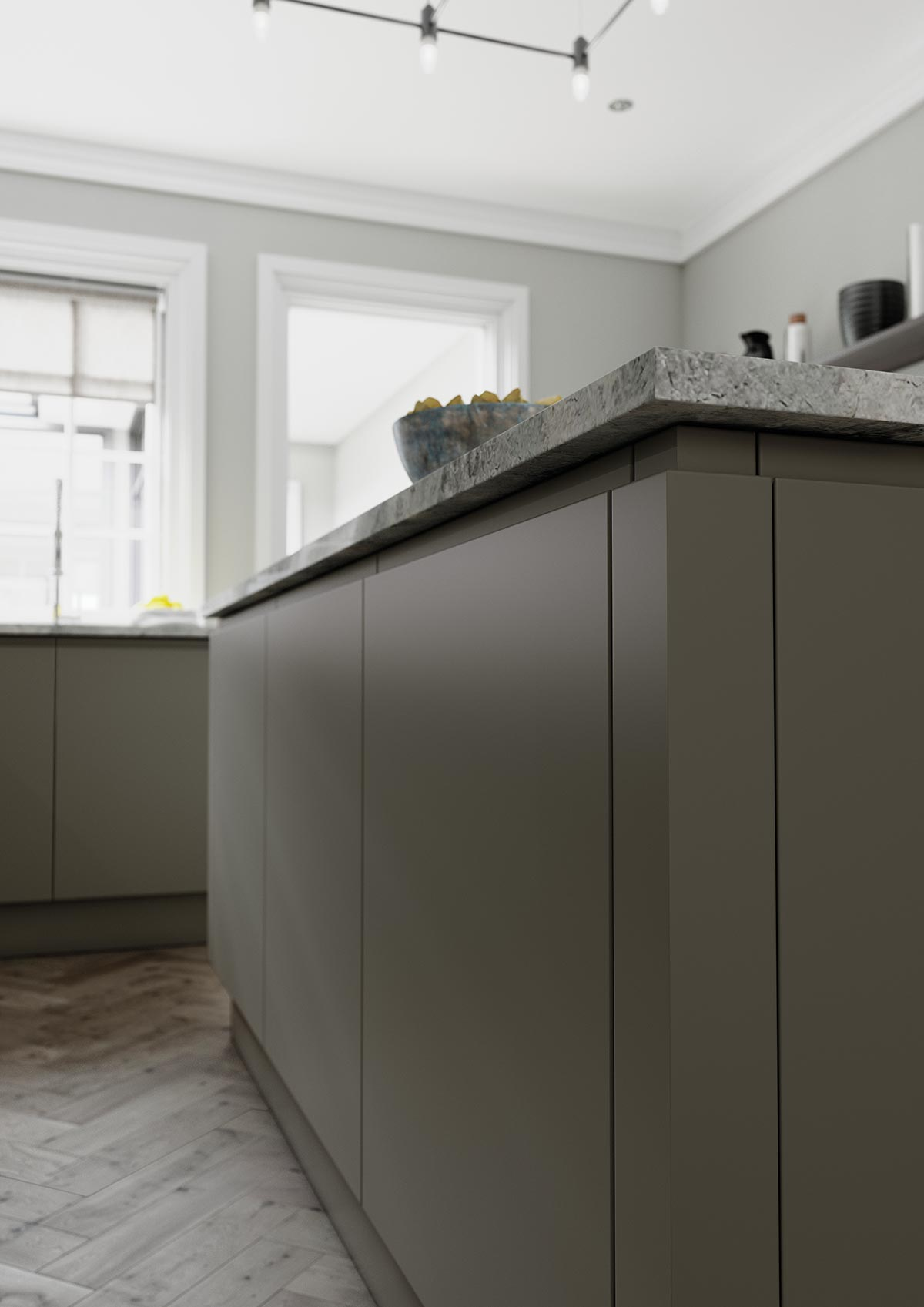 Island detail view of modern part handleless kitchen in matte lava and carbon stain