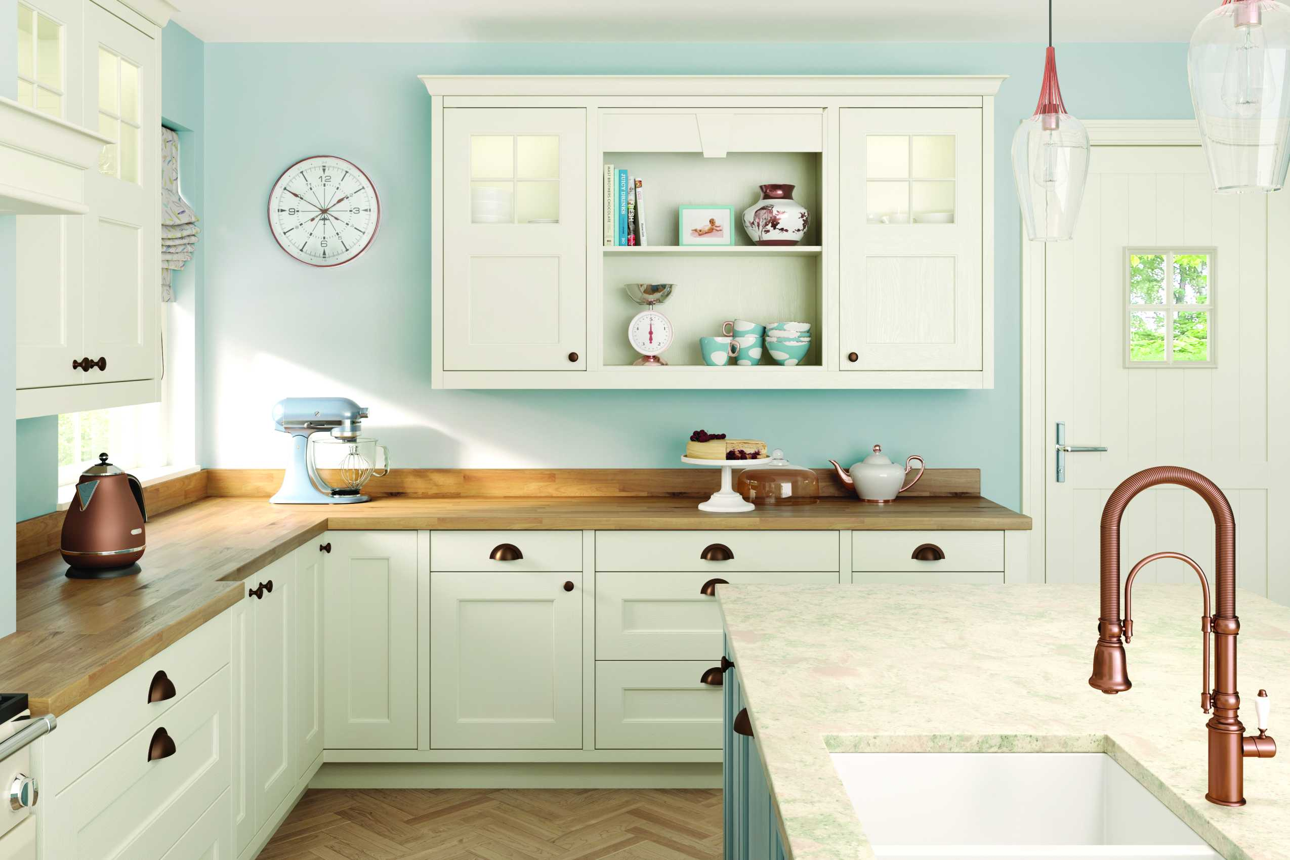 porcelain and pantry blue classic shaker kitchen corner aspect