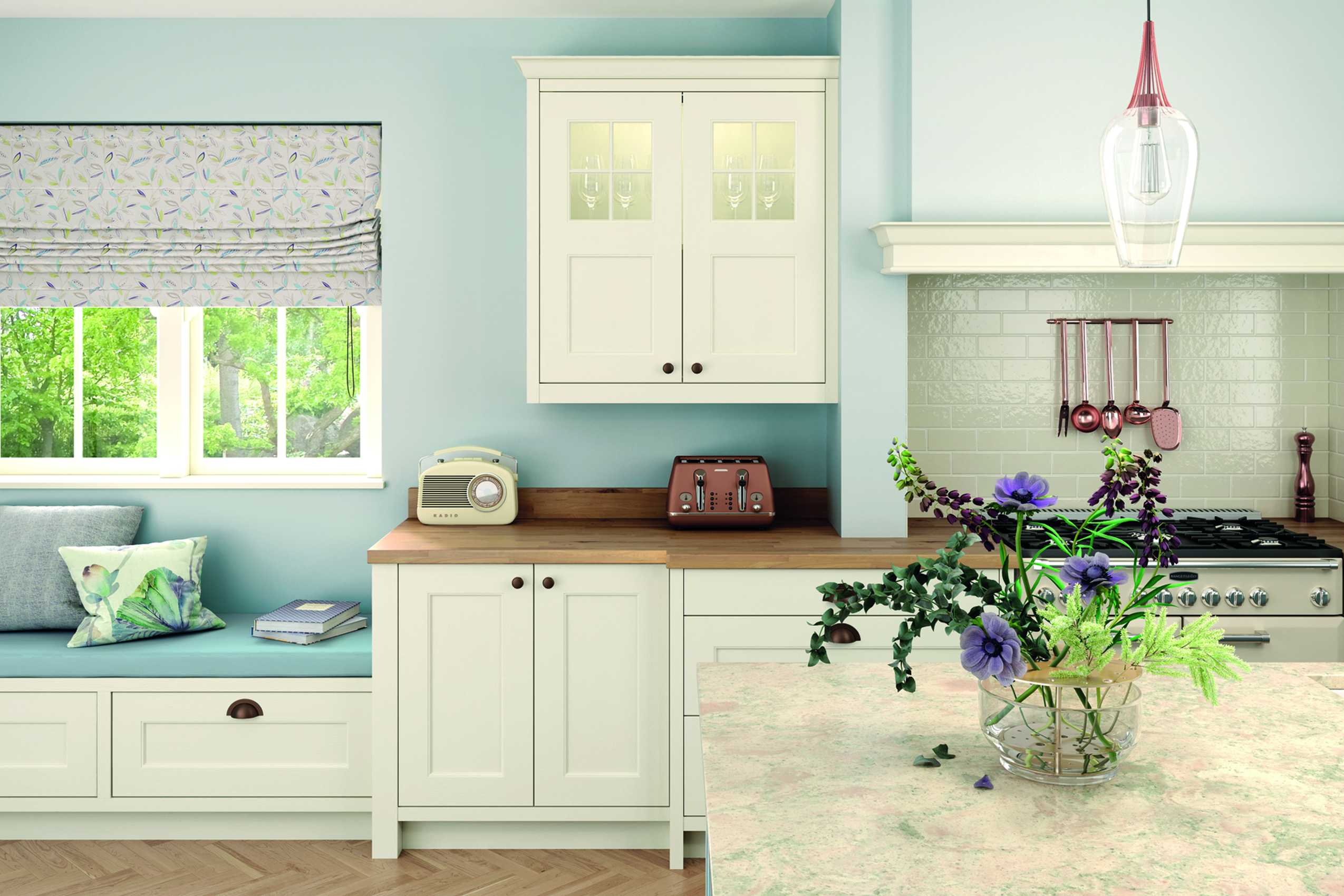 porcelain and pantry blue classic shaker kitchen cameo