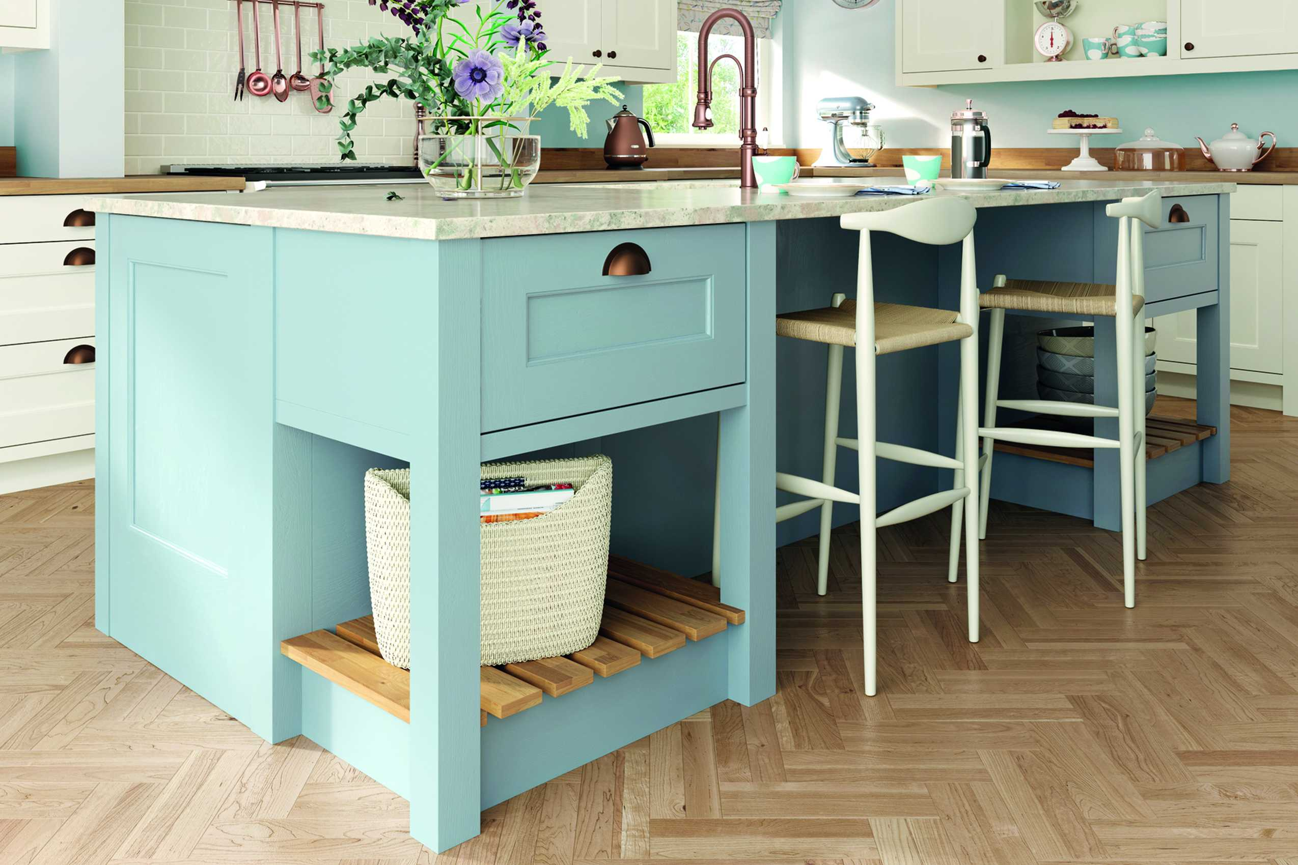 porcelain and pantry blue classic shaker kitchen island