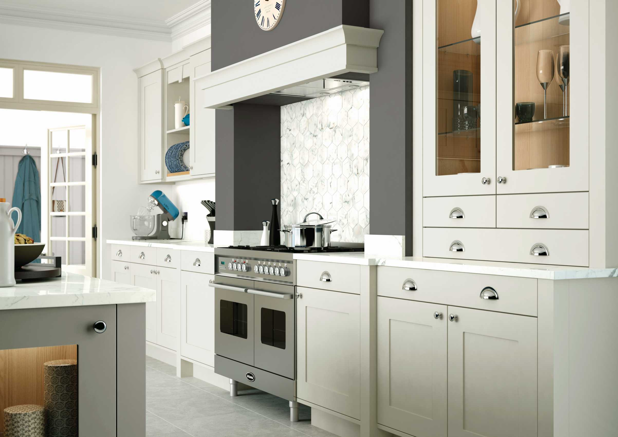 porcelain and stone grey painted shaker kitchen cooking rang