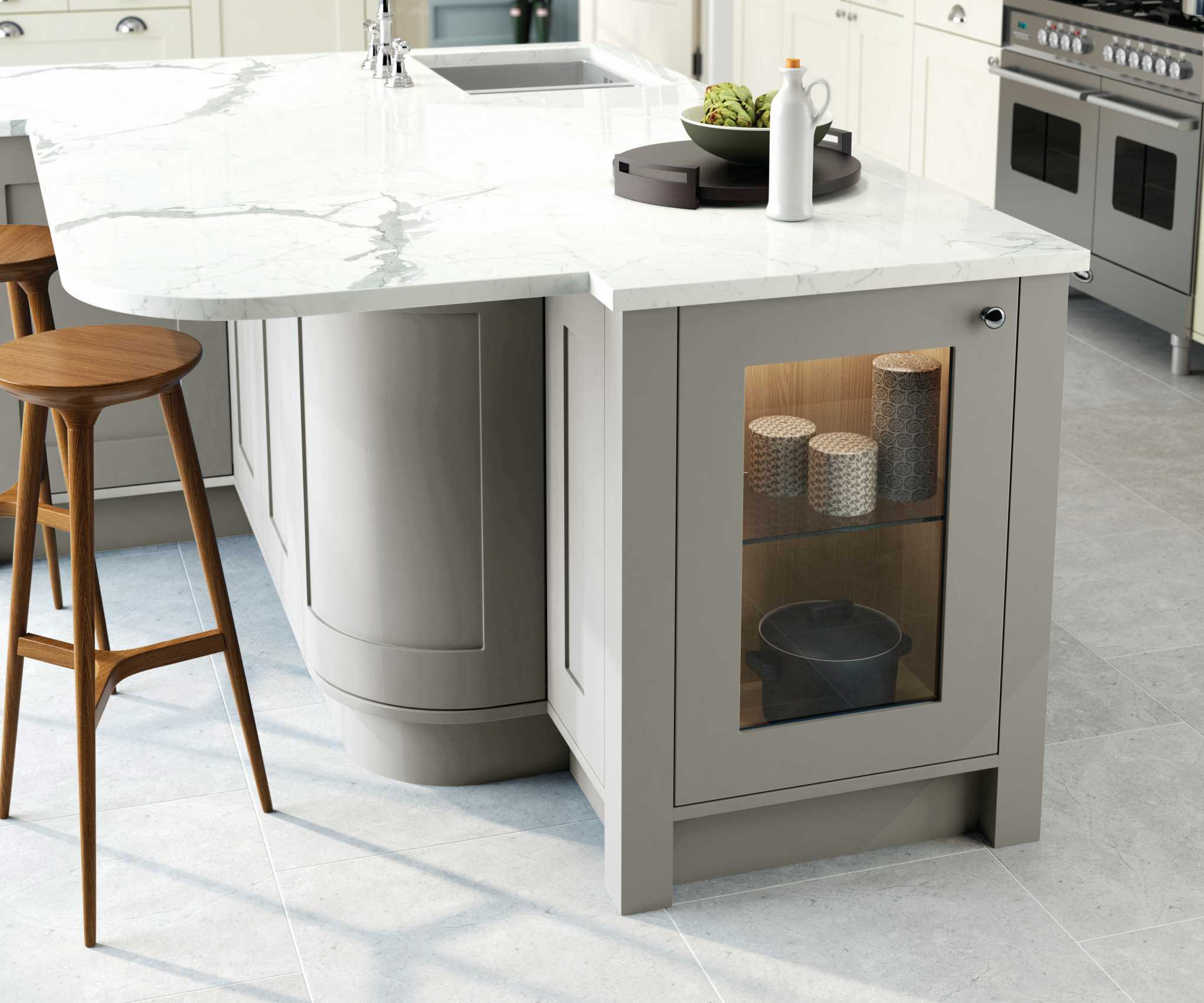 porcelain and stone grey painted shaker kitchen island