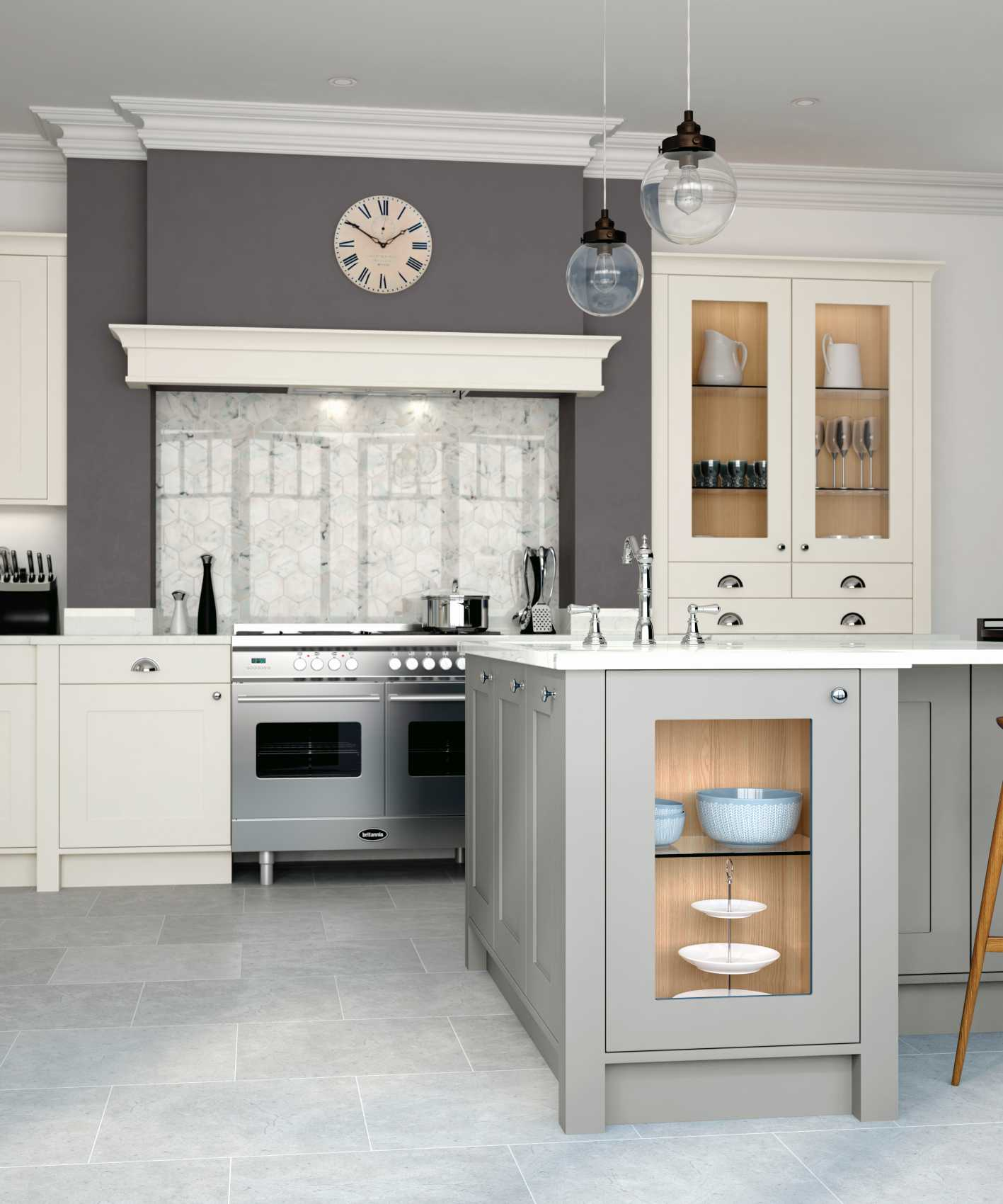 porcelain and stone grey painted shaker kitchen cameo