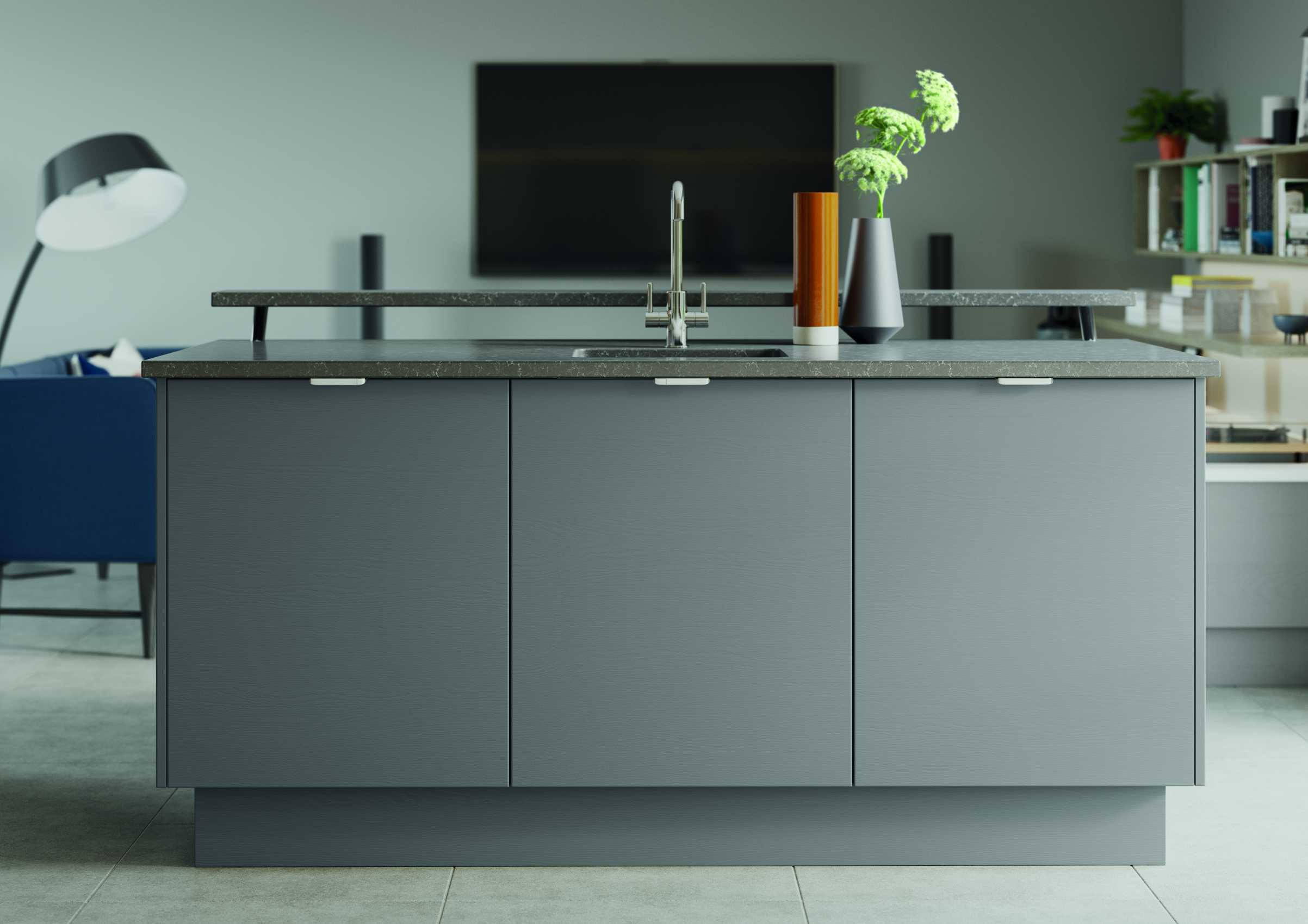 Shell and dust grey modern kitchen island