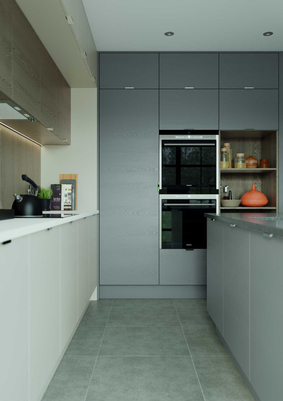 Shell and dust grey modern kitchen facing overns