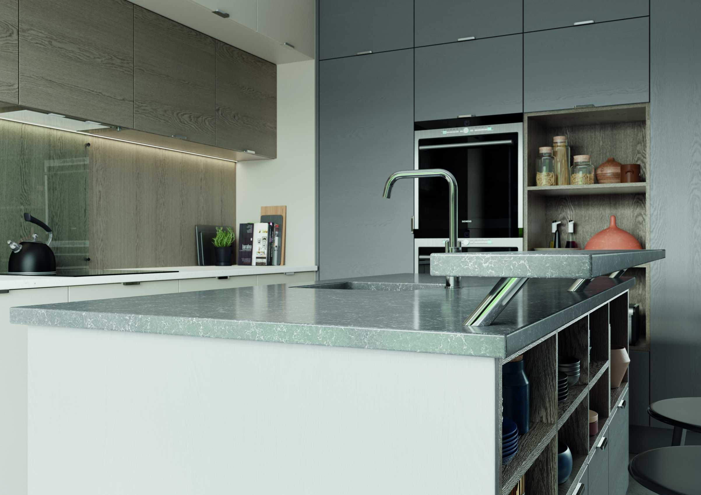 Shell and dust grey modern kitchen dark quartz island worktop