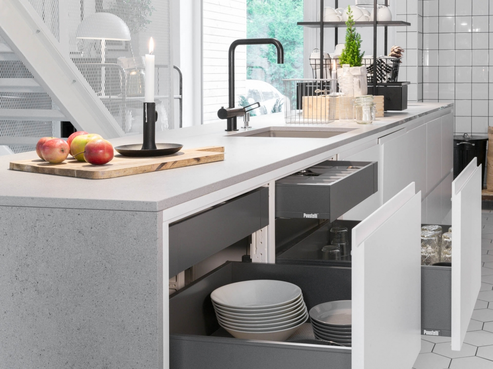 Miinus eco friendly white and grey handleless kitchen storage draws