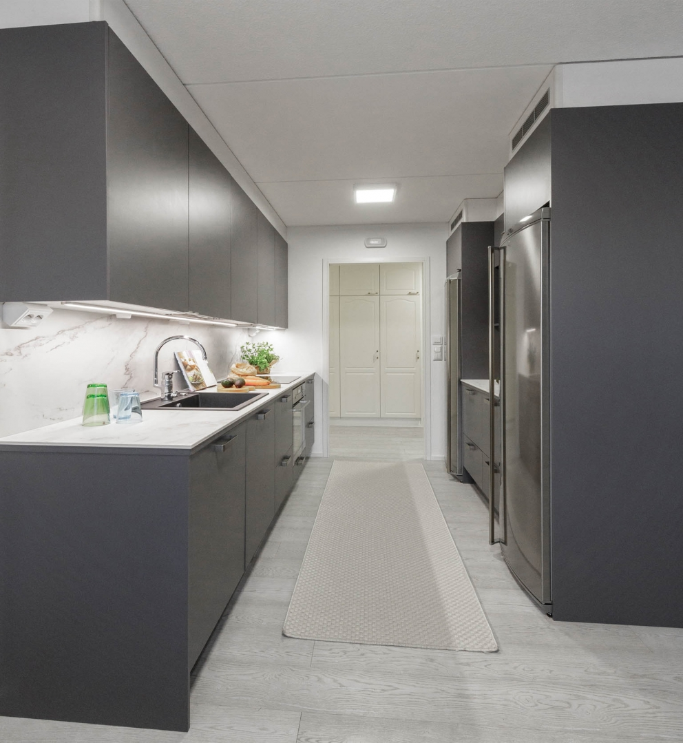 Miinus eco friendly matt grey modern galley kitchen end view