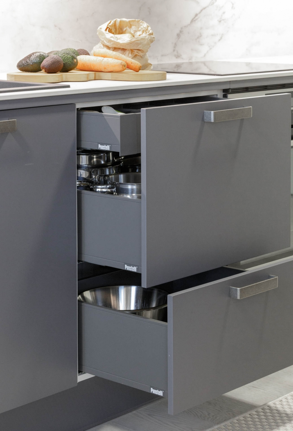 Miinus eco friendly matt grey modern galley kitchen clever drawers