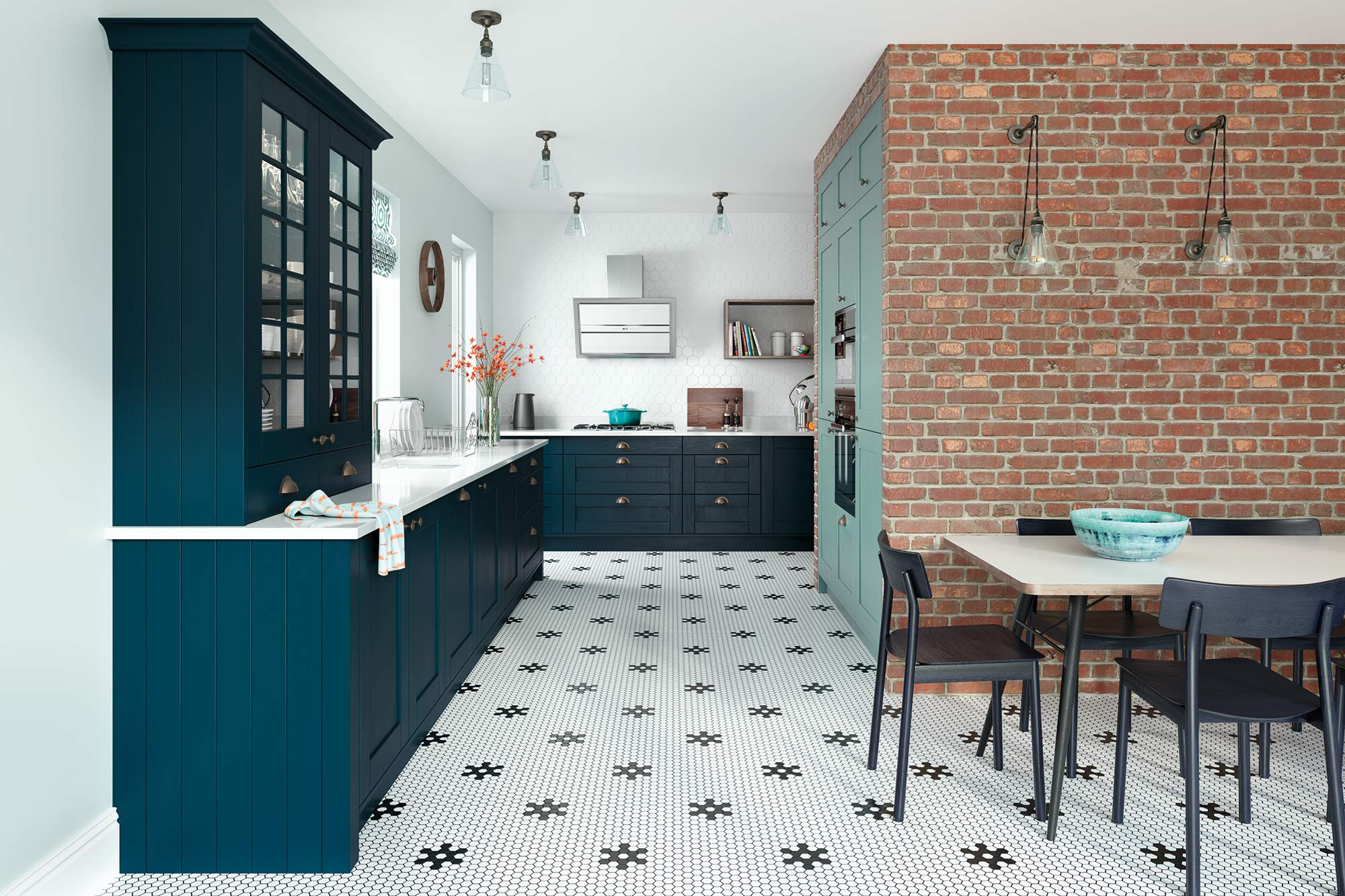 Contemporary style shaker kitchen in marine blue and teal green picture 3