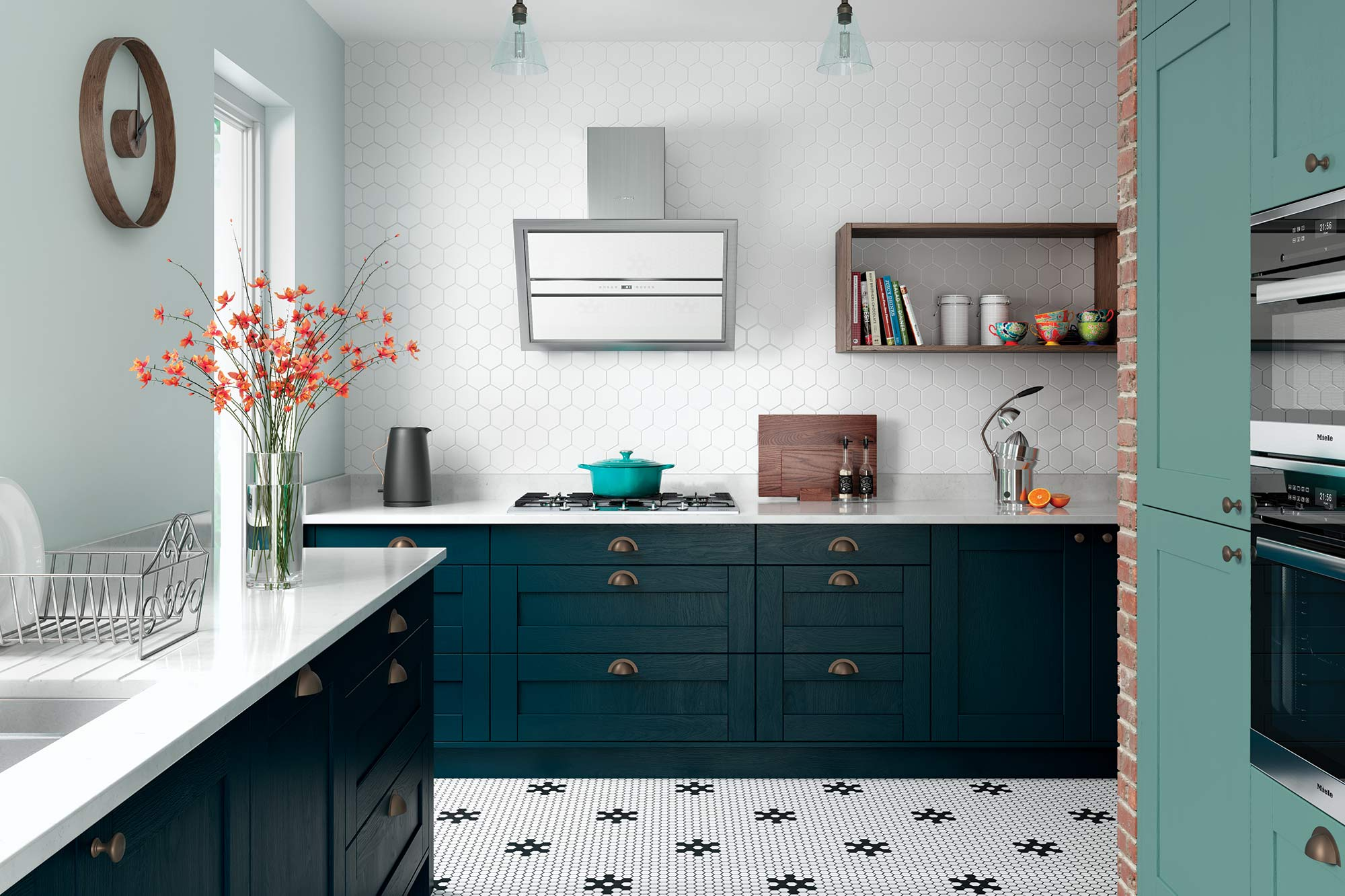 Contemporary style shaker kitchen in marine blue and teal green picture 4
