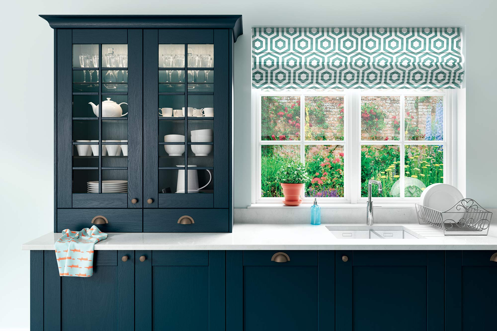 Contemporary style shaker kitchen in marine blue and teal green picture 2