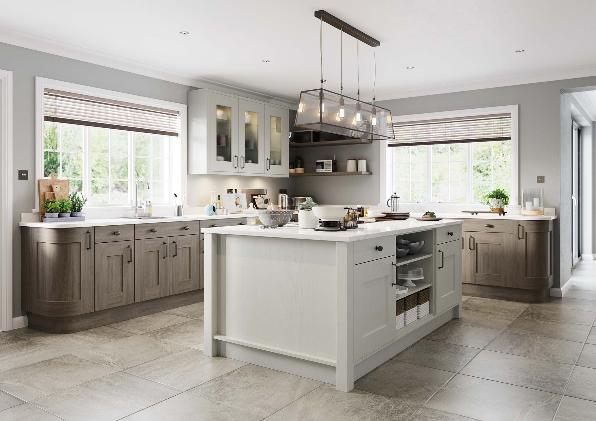Contemporary shaker style kitchen stone paint and anthracite stain picture 2