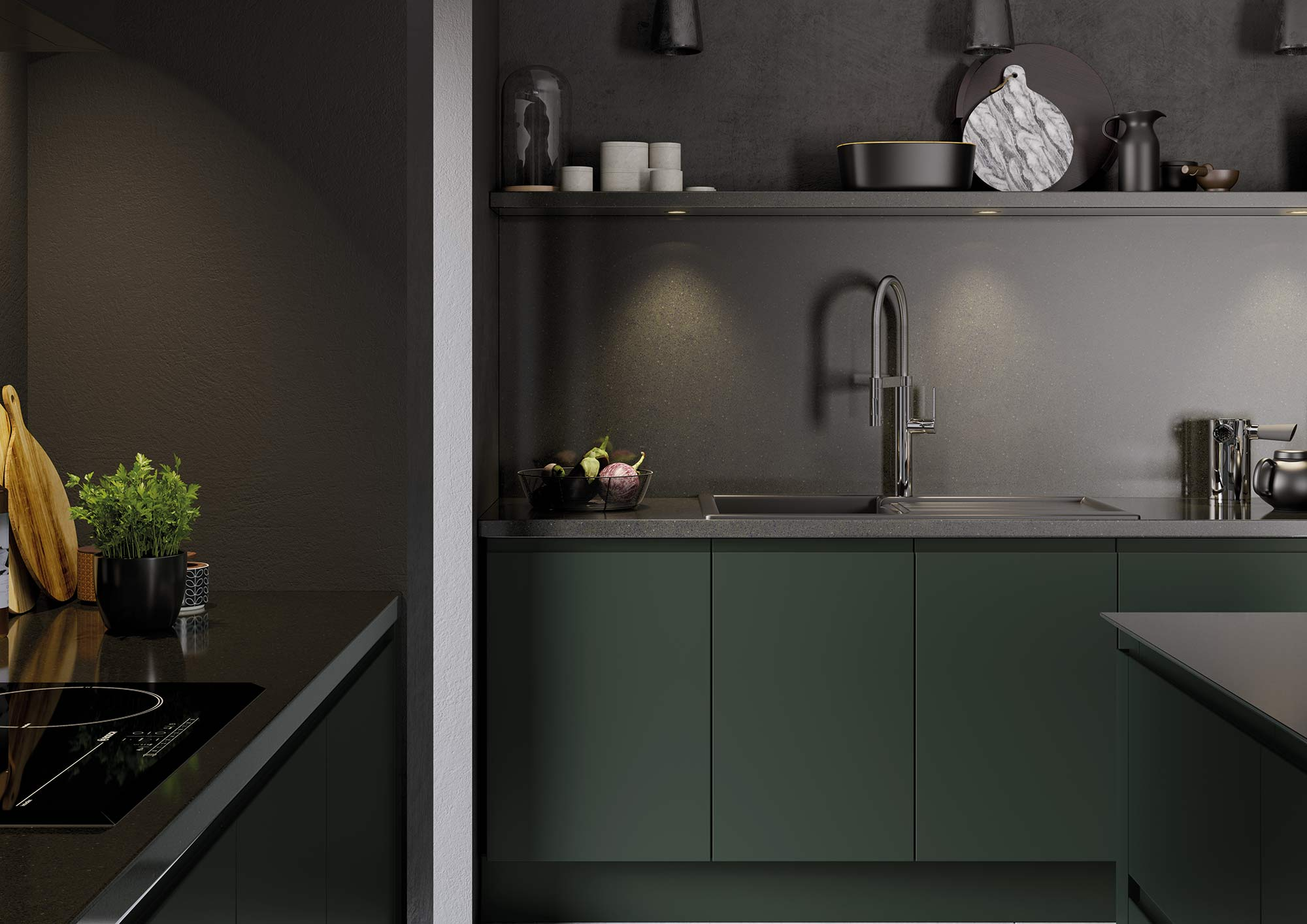 J-Pull handleless kitchen in deep forest green picture 1
