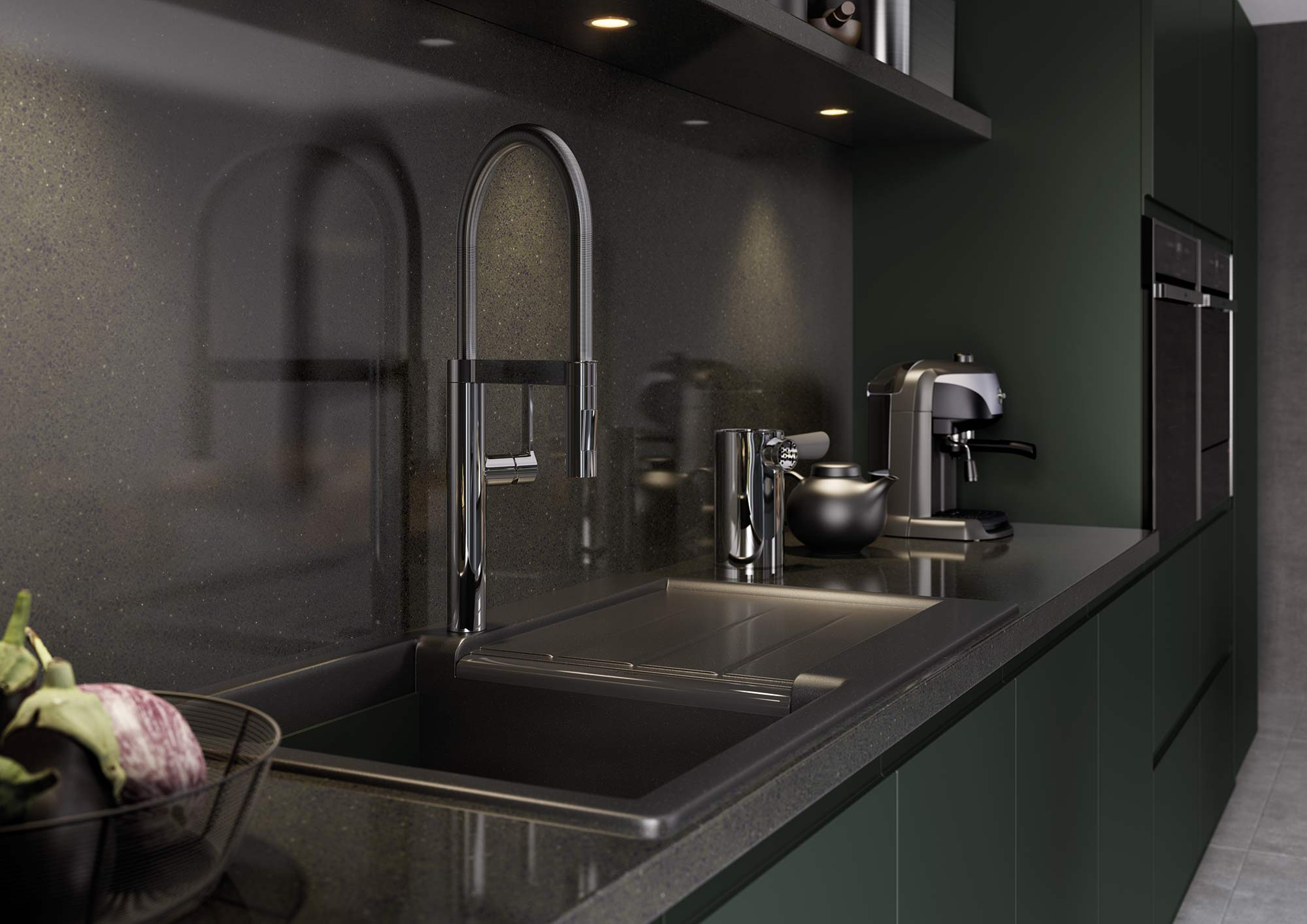 J-Pull handleless kitchen in deep forest green picture 3