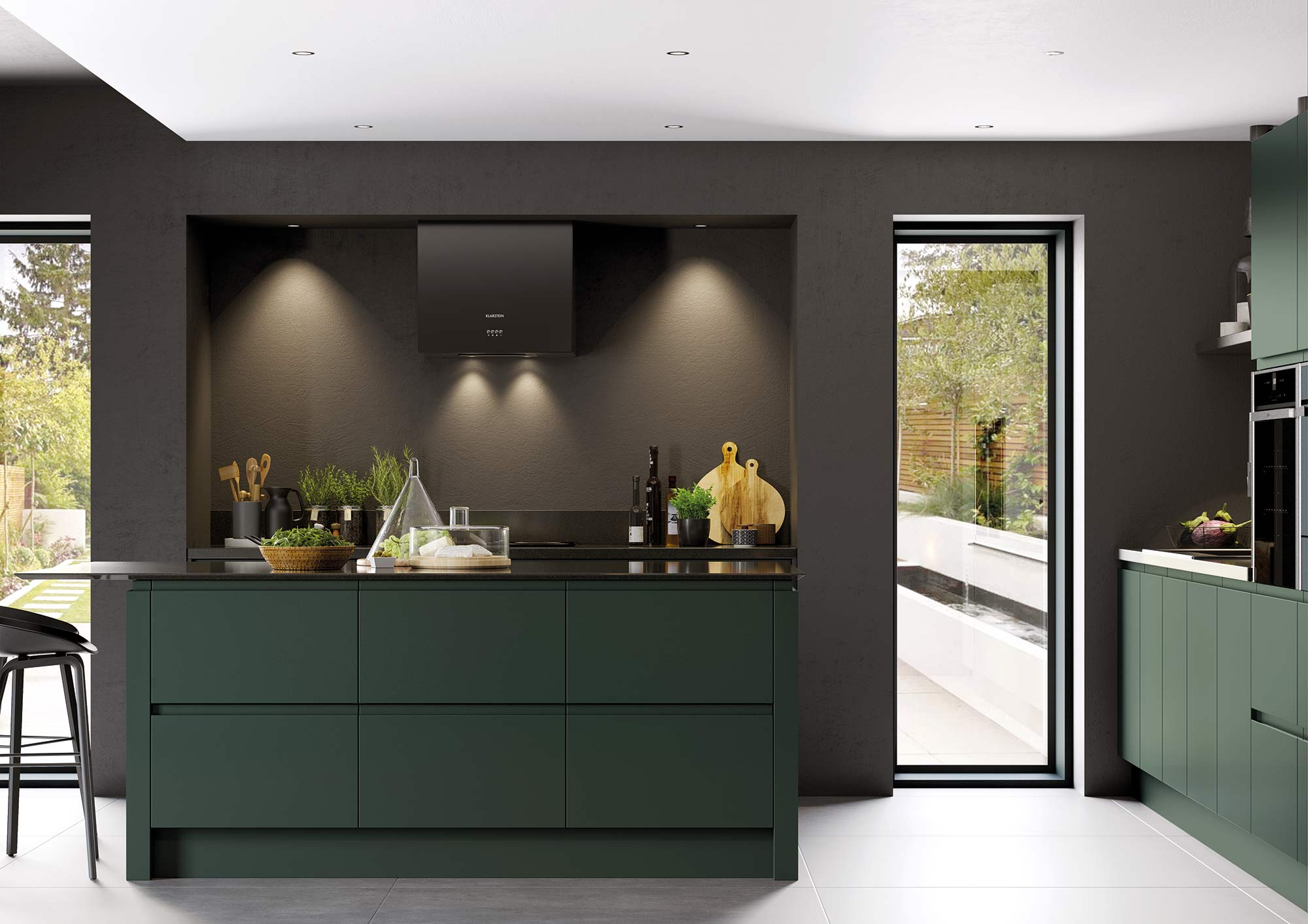 J-Pull handleless kitchen in deep forest green picture 4