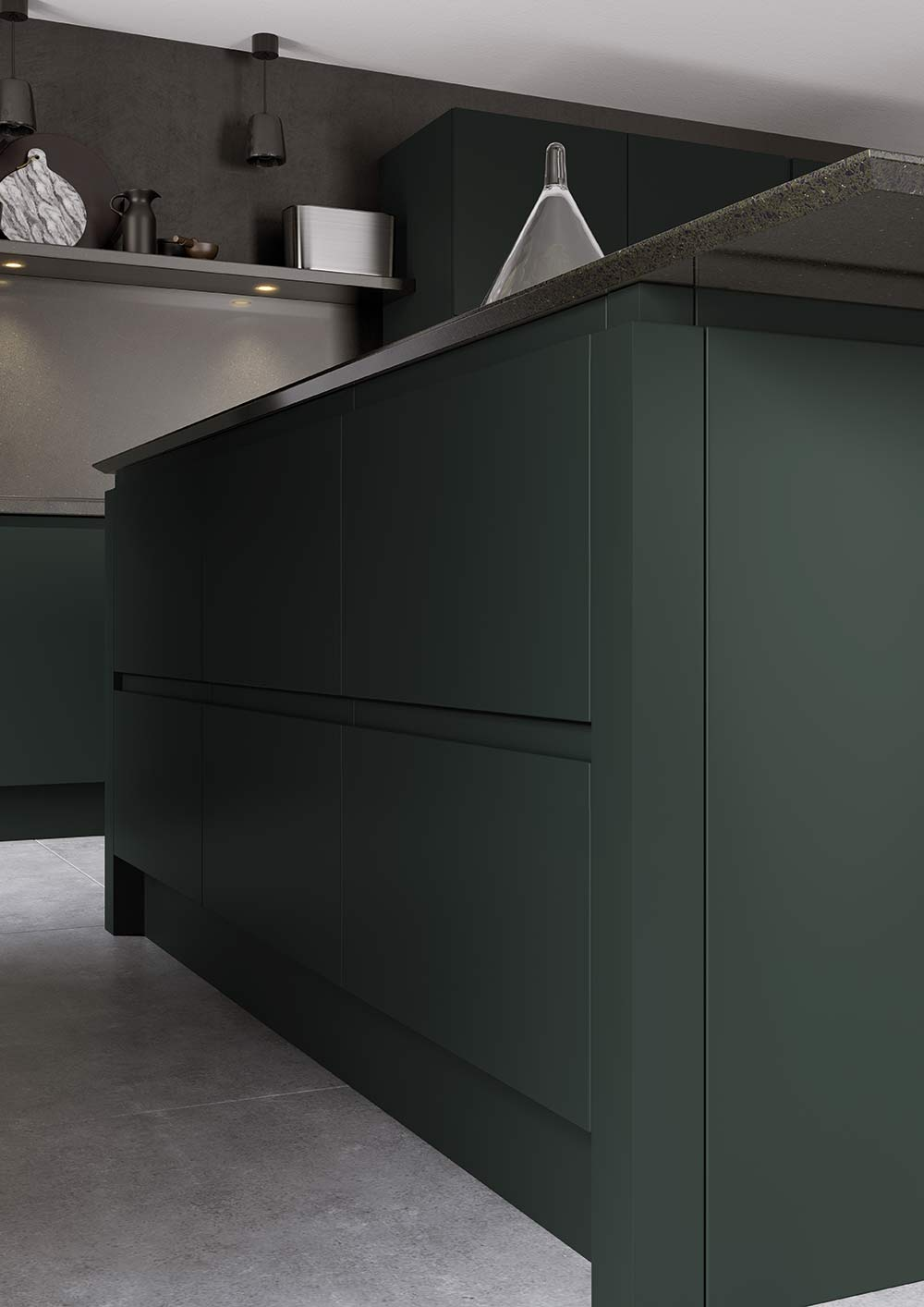 J-Pull handleless kitchen in deep forest green picture 5