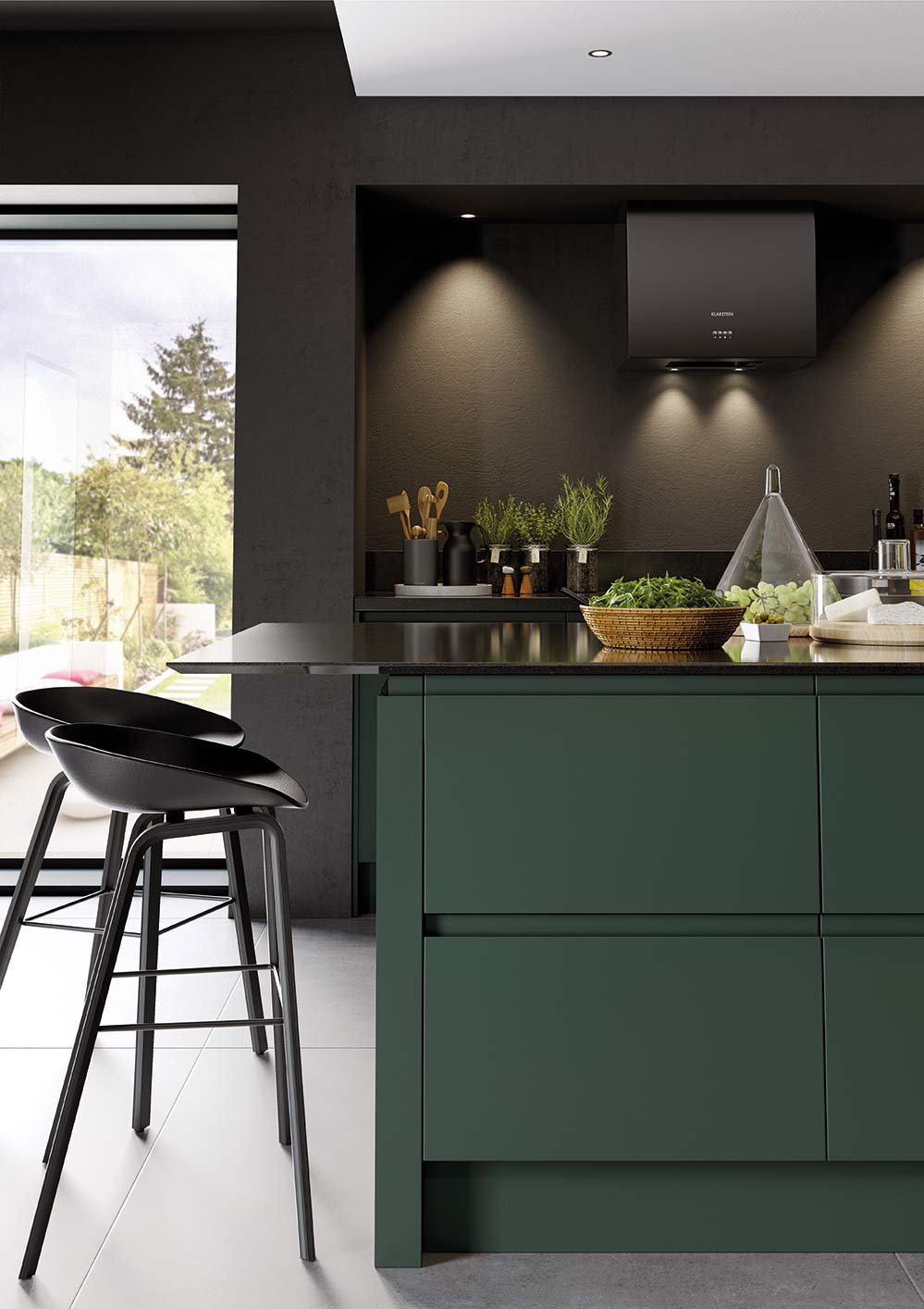 J-Pull handleless kitchen in deep forest green picture 6