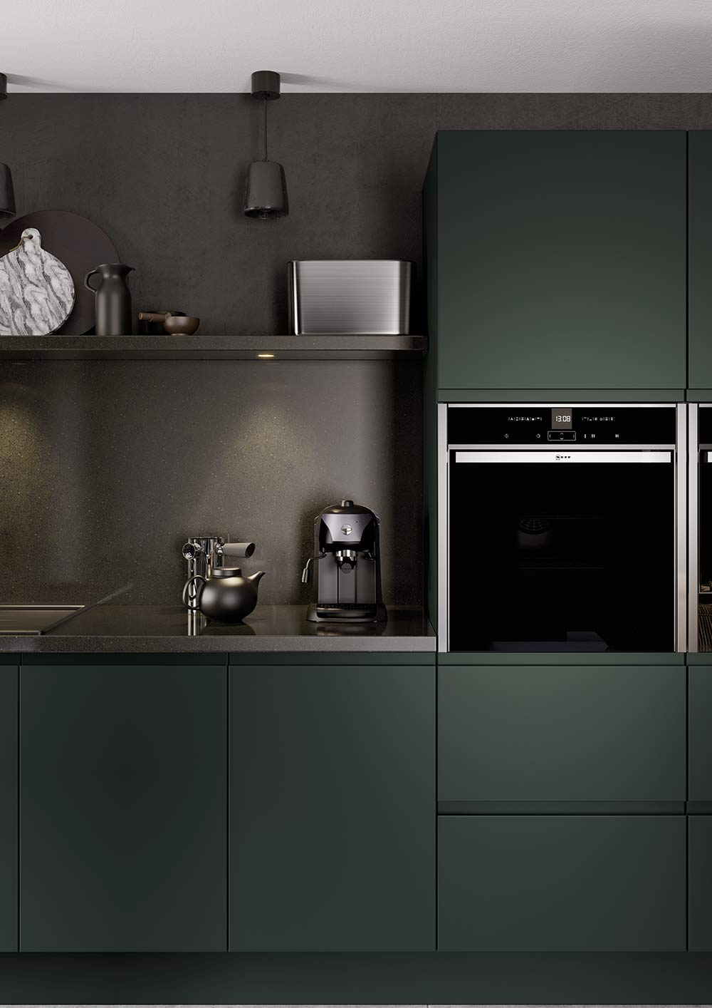 J-Pull handleless kitchen in deep forest green picture 7