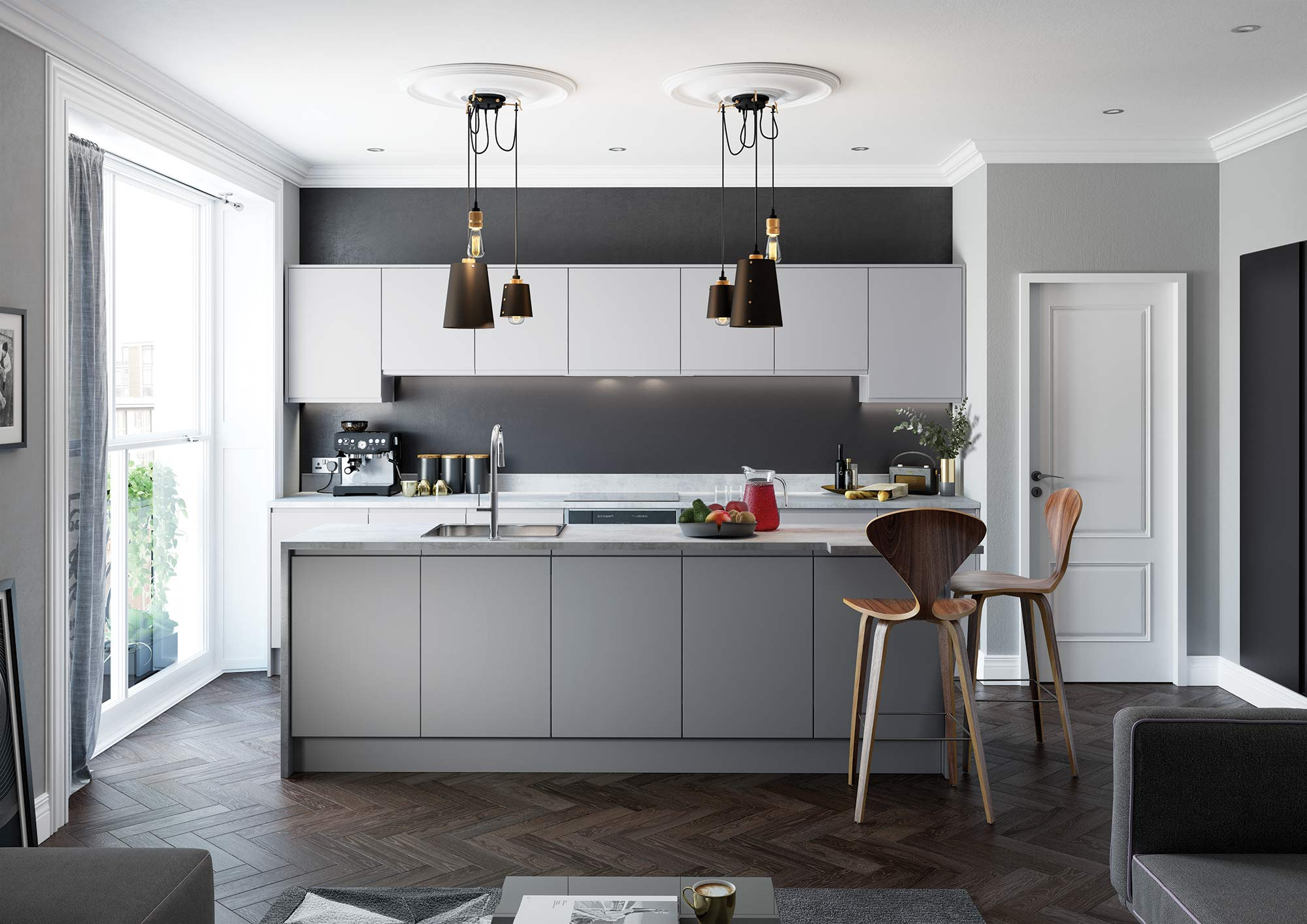 Handleless and True Handleless Matte Grey Contemporary Kitchen Main Picture